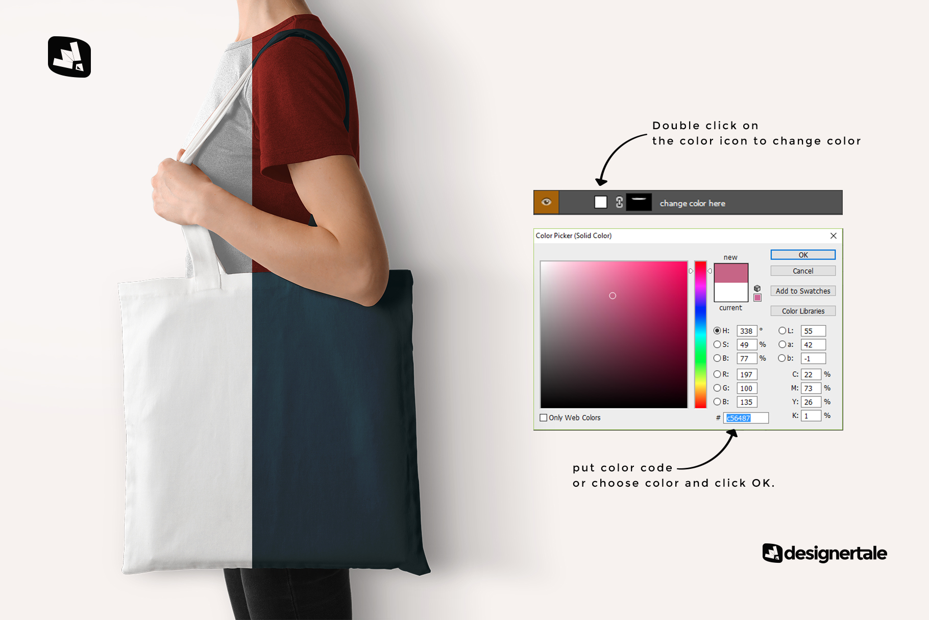 how to change color of the large cotton bag mockup with model
