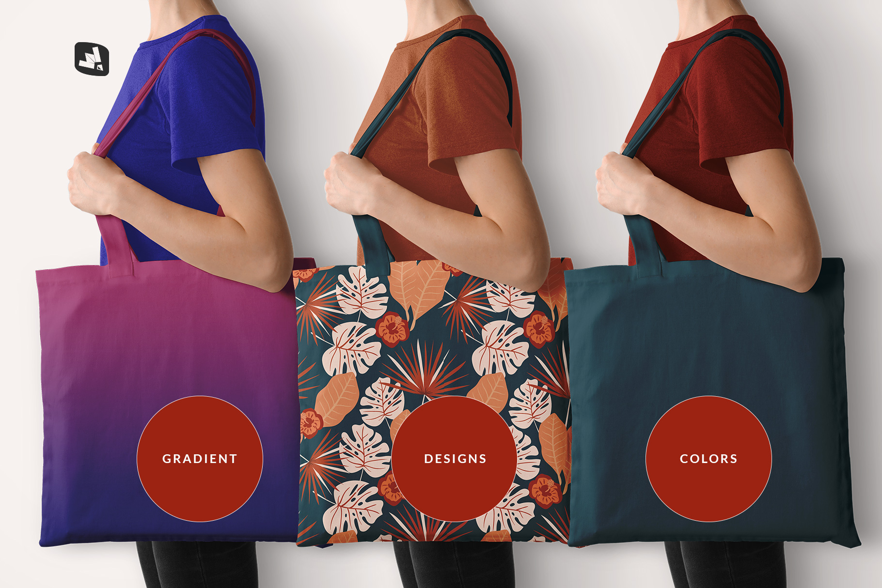 types of the large cotton bag mockup with model