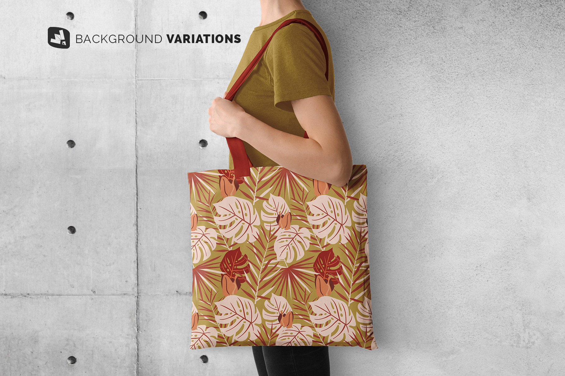 background options of the large cotton bag mockup with model