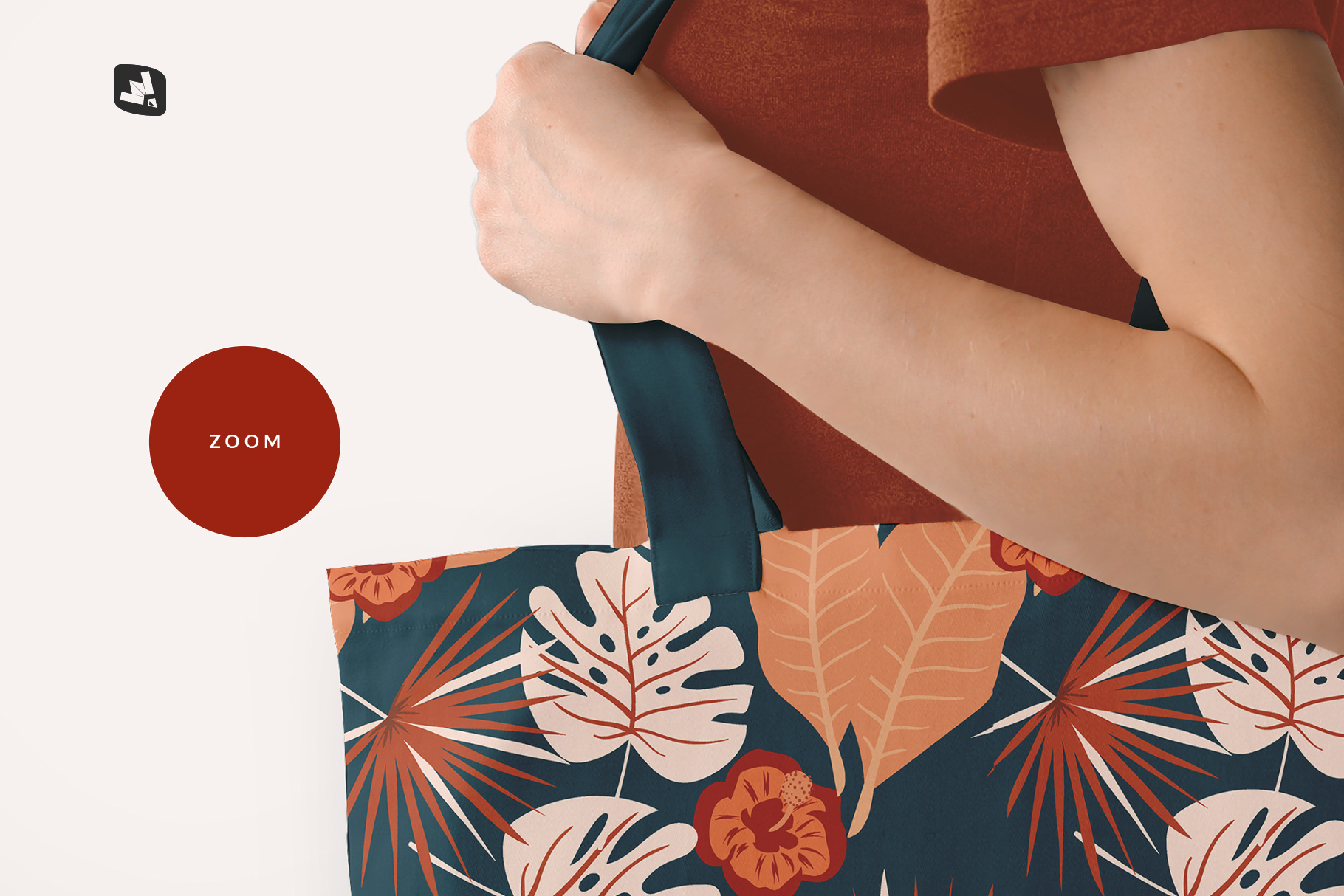 zoomed in image of the large cotton bag mockup with model