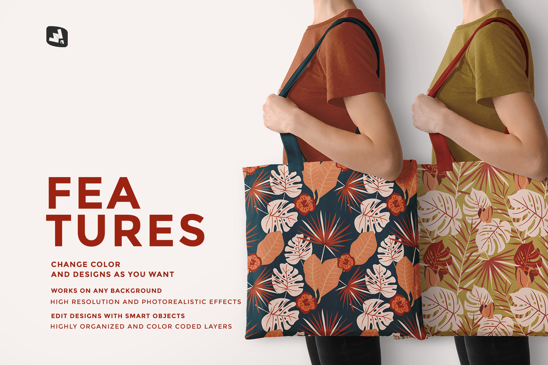 features of the large cotton bag mockup with model