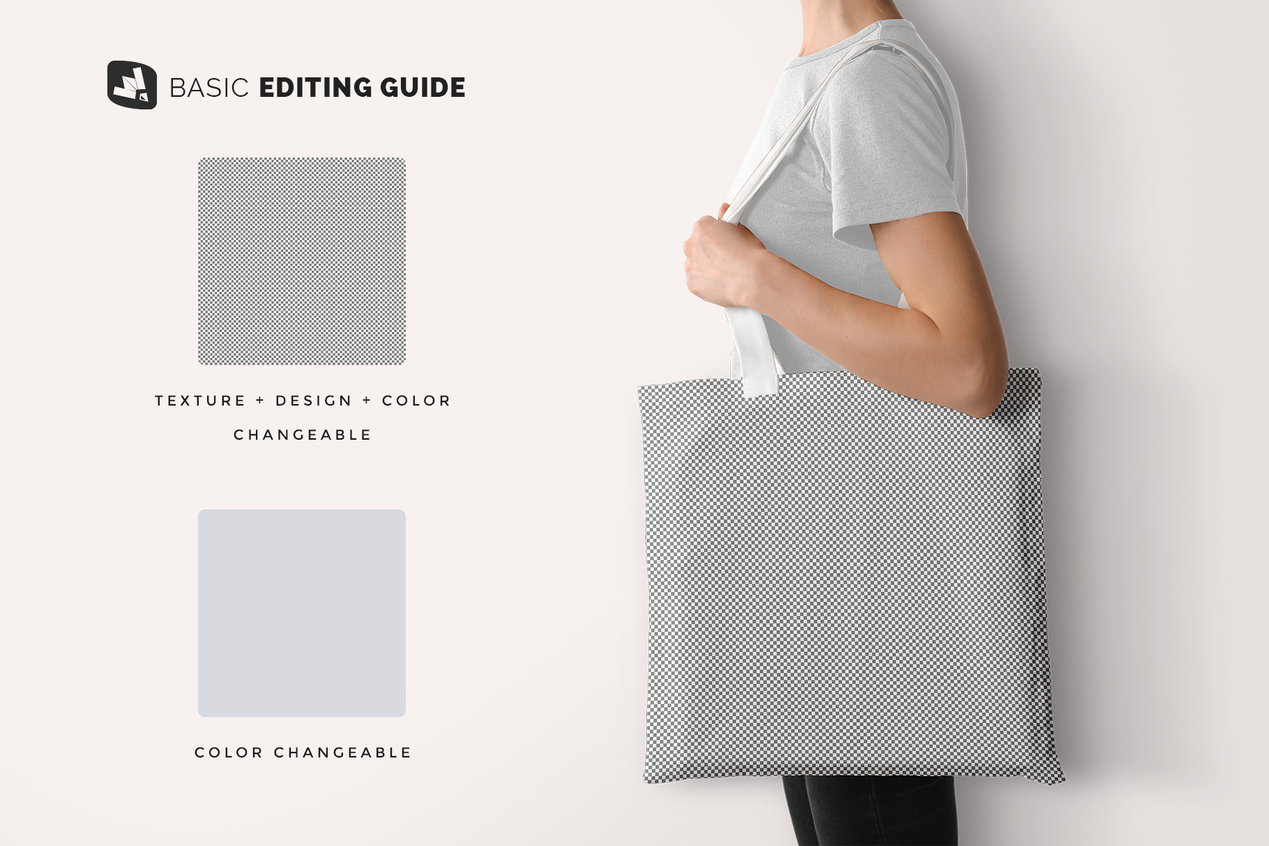 editability of the large cotton bag mockup with model