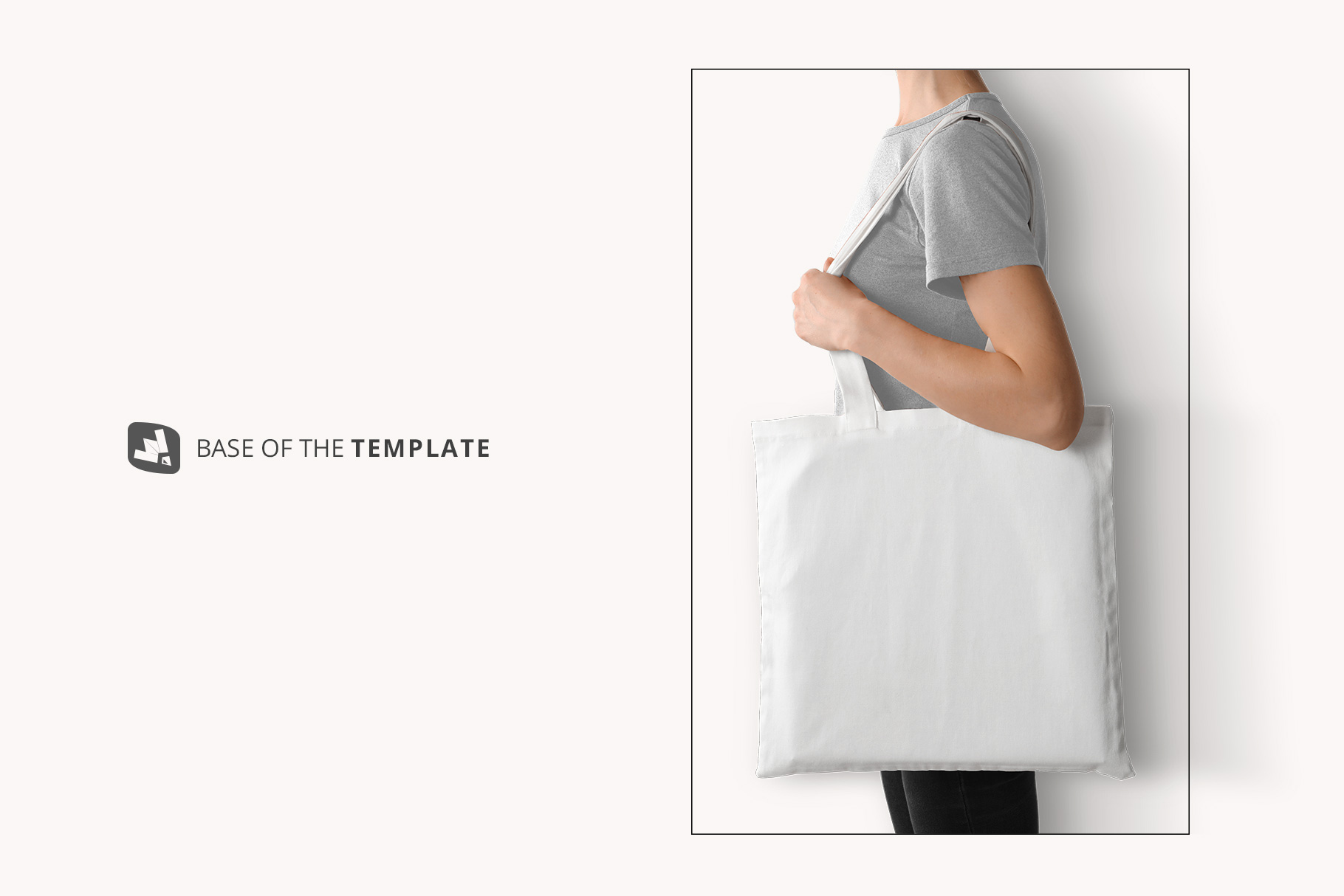 base image of the large cotton bag mockup with model