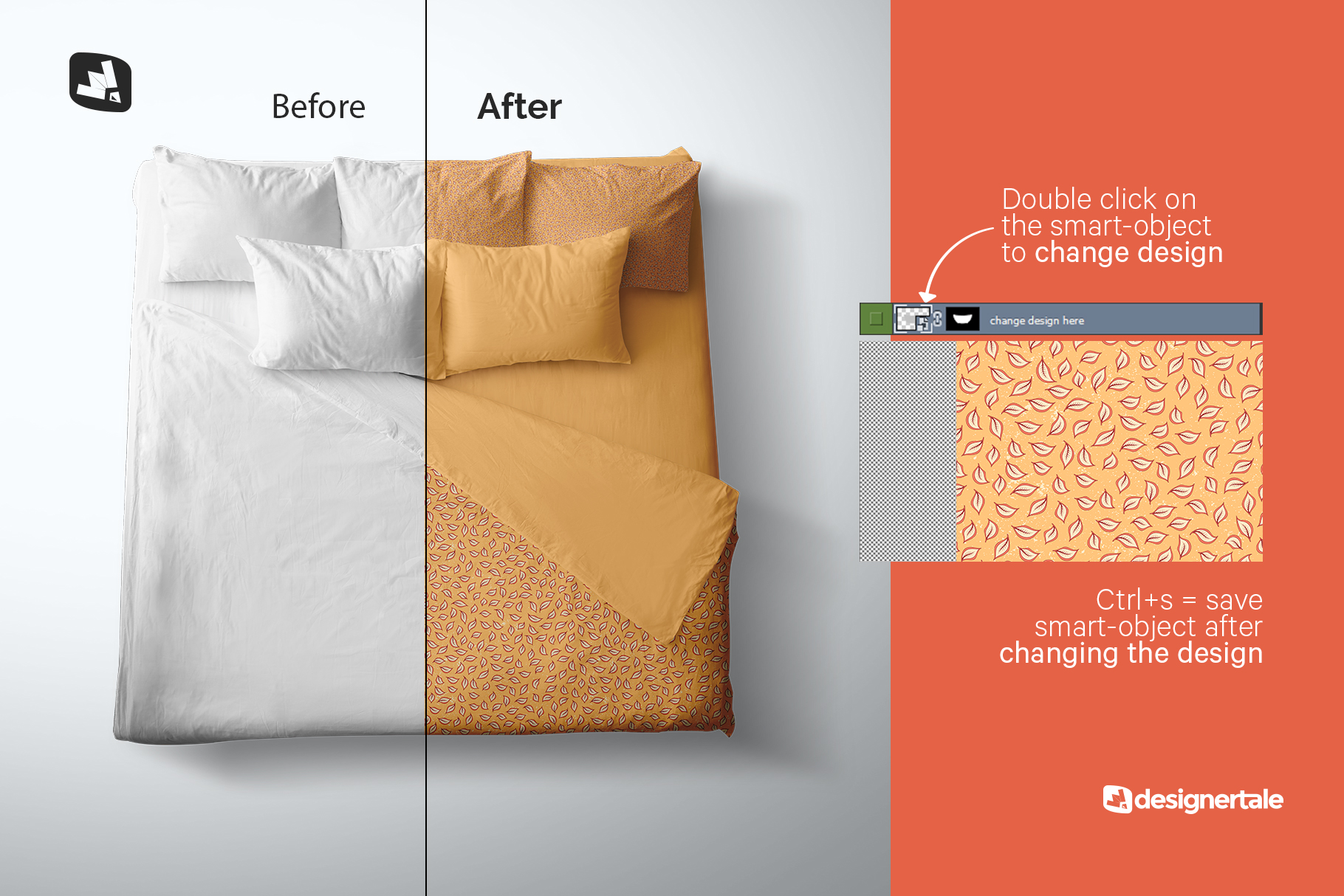 how to chage design of the top view king size bed mockup