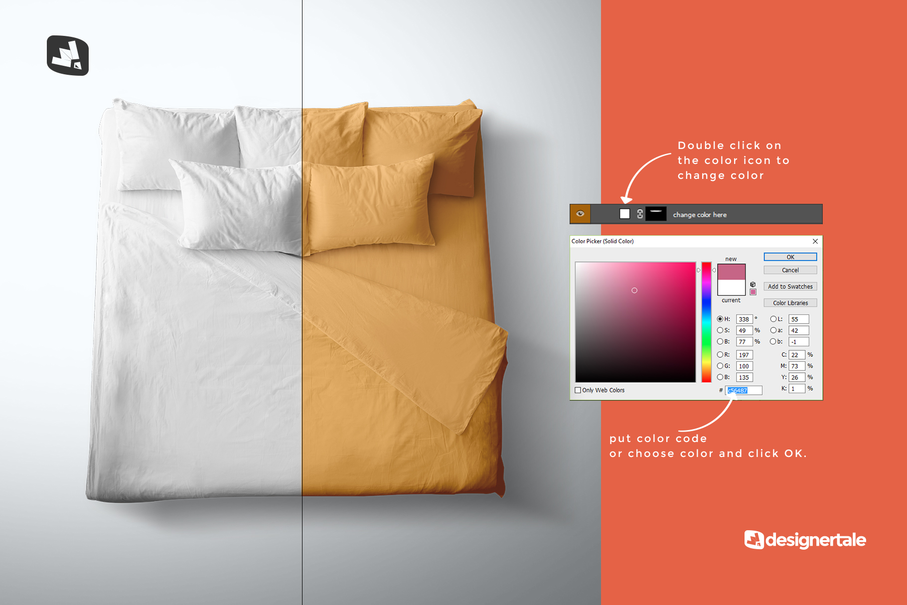 how to change color of the top view king size bed mockup