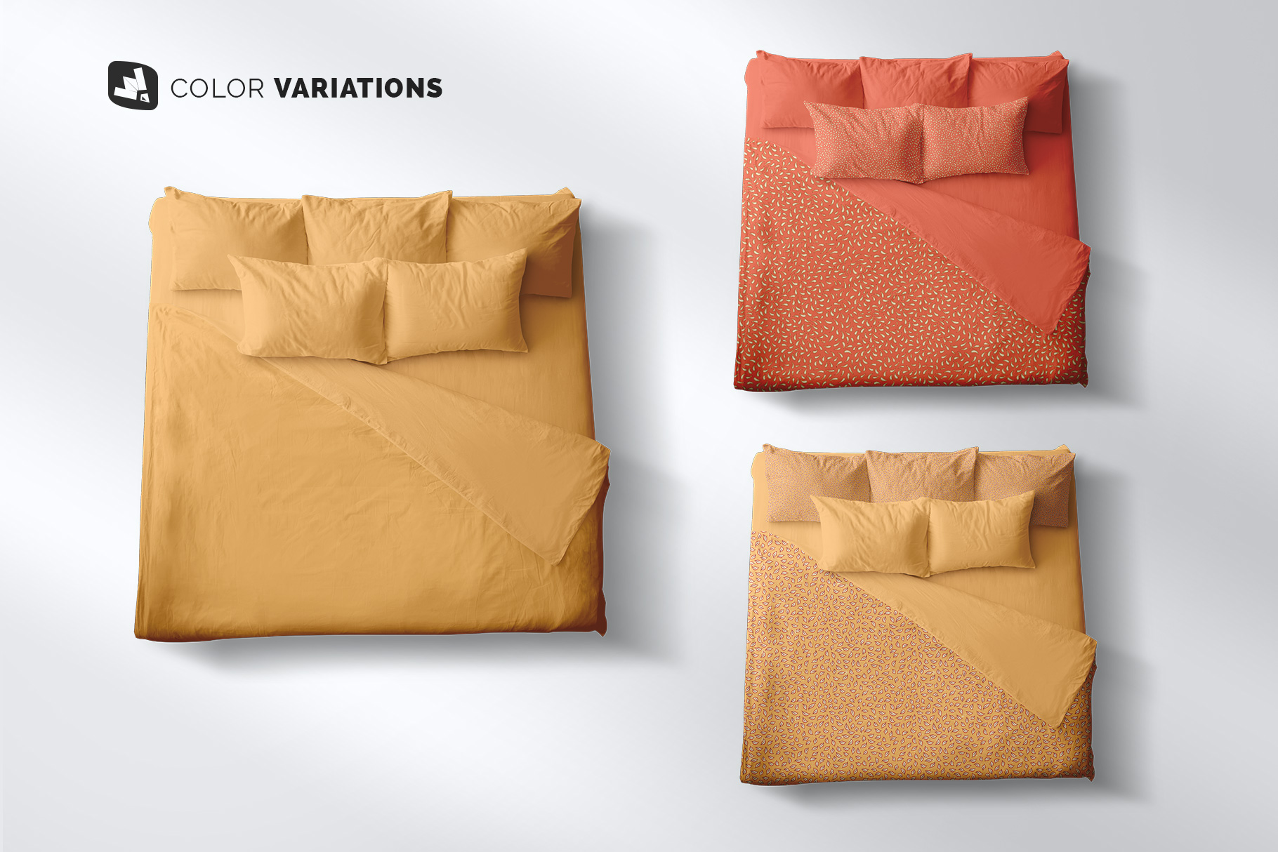 type variations of the top view king size bed mockup