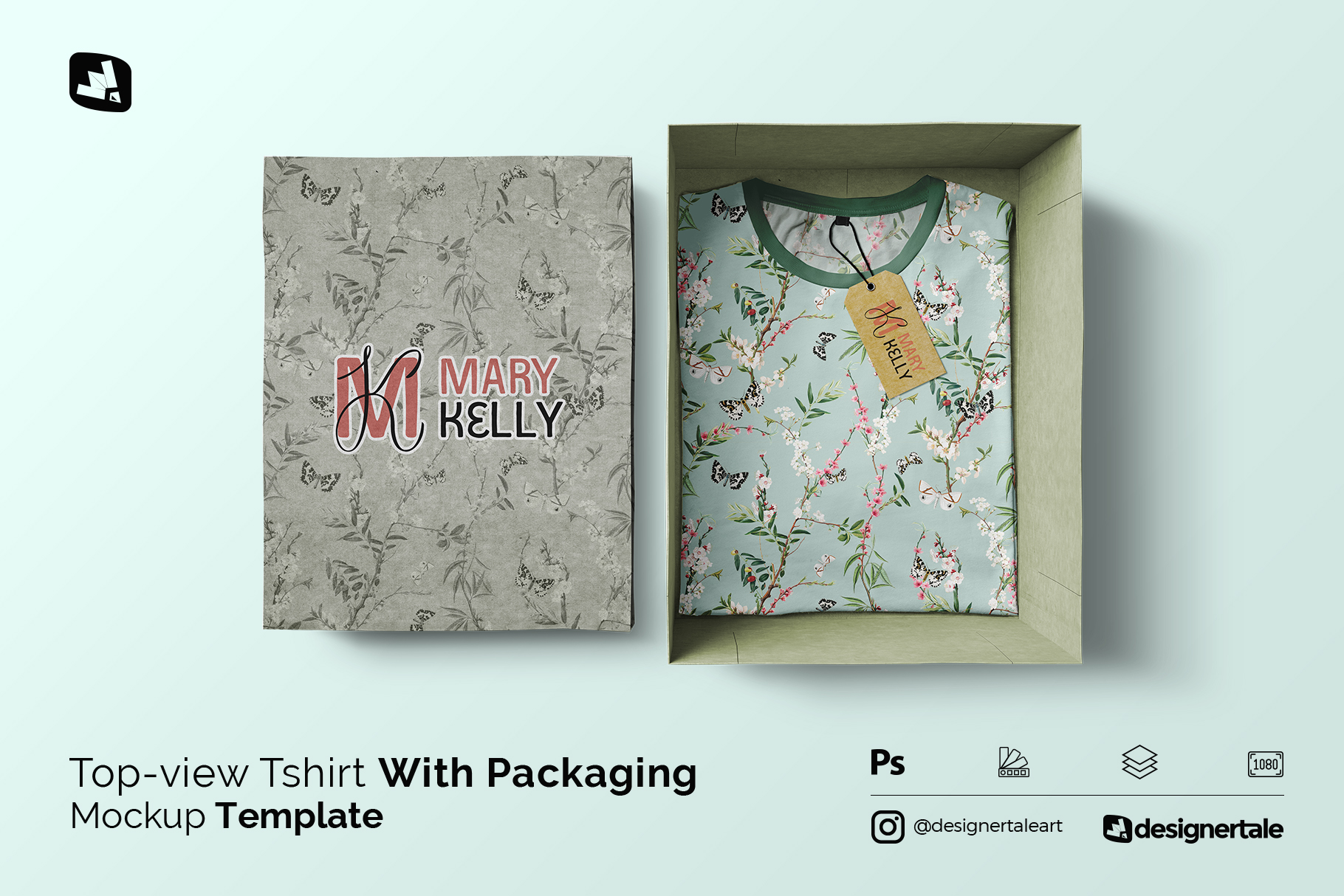 tshirt with packaging mockup