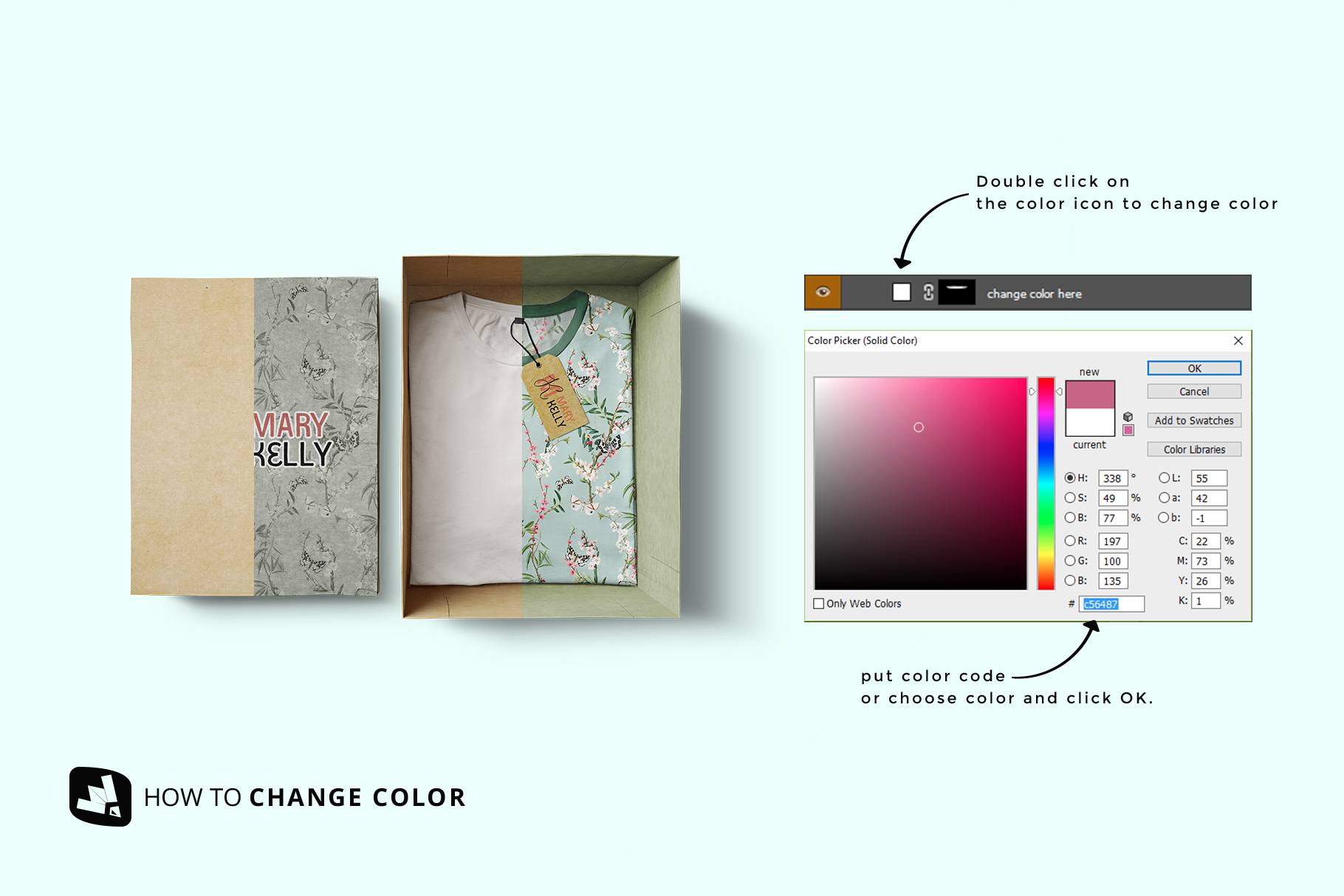 how to change color of the top view tshirt with packaging mockup