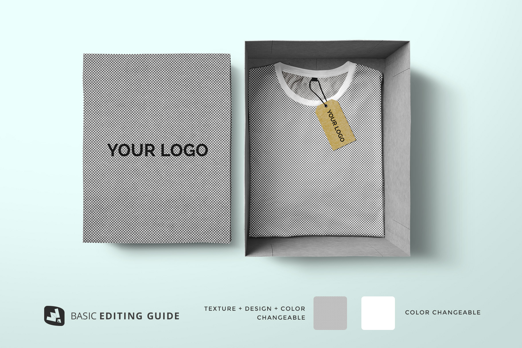 editability of the top view tshirt with packaging mockup