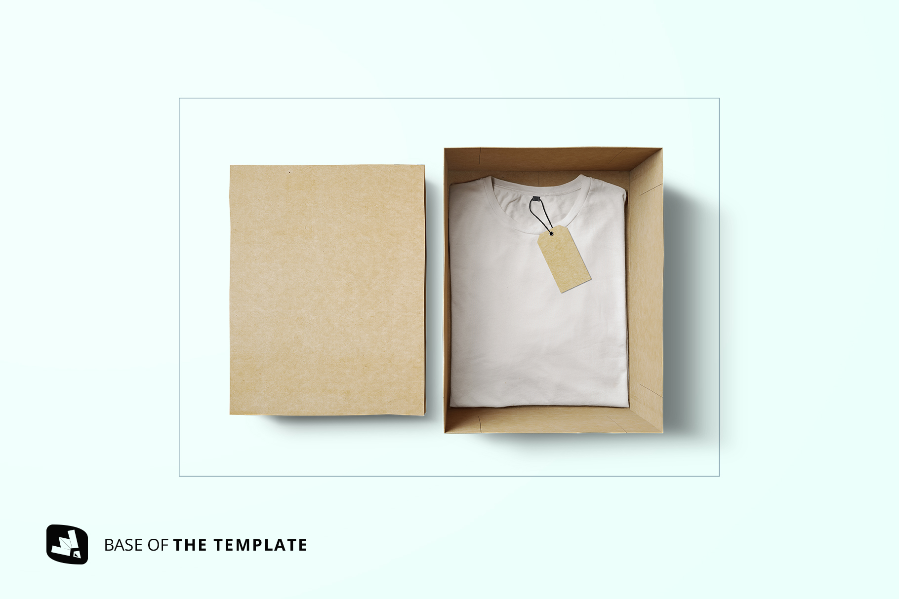 base image of the top view tshirt with packaging mockup