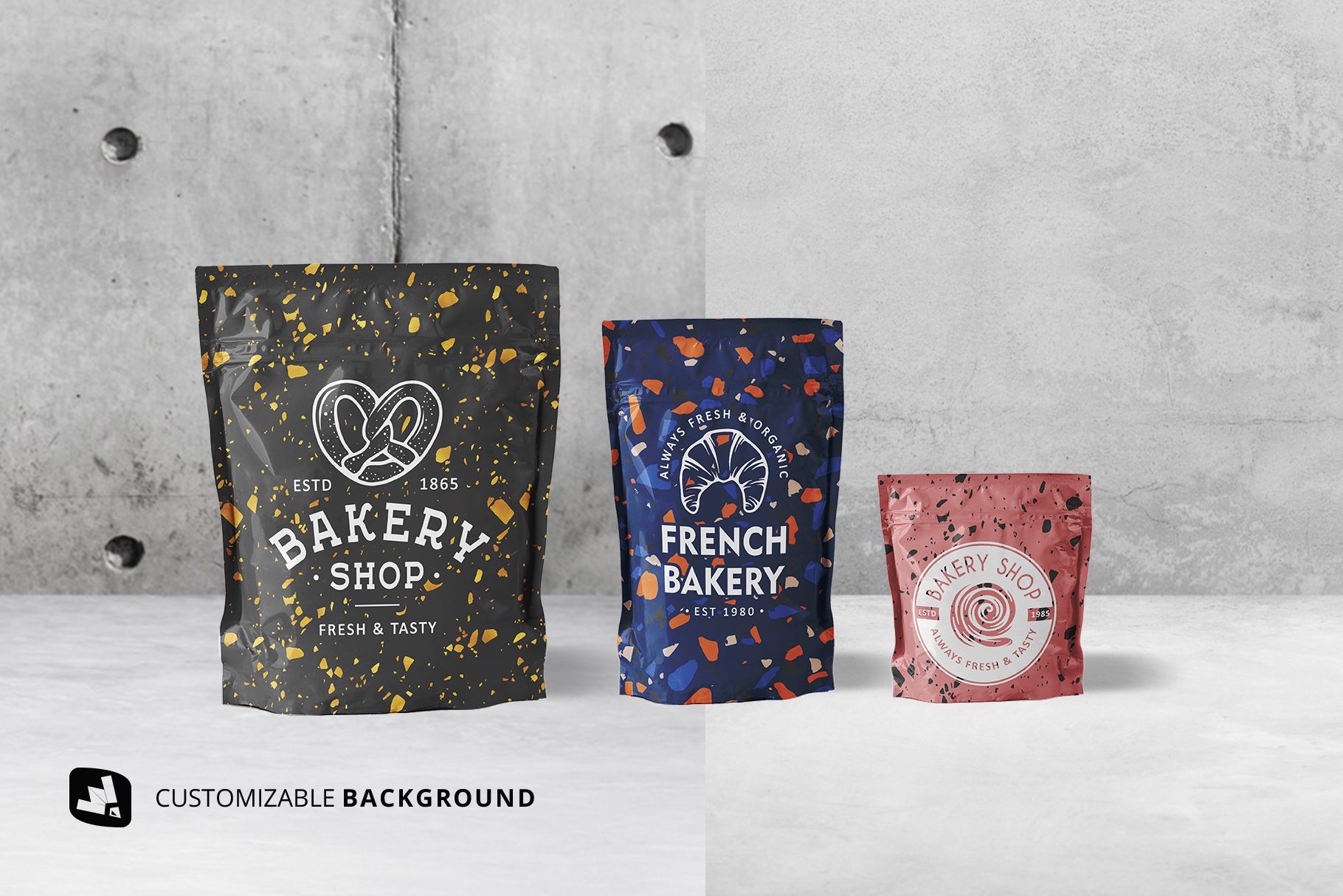 background options of the flexible food pouch packaging mockup