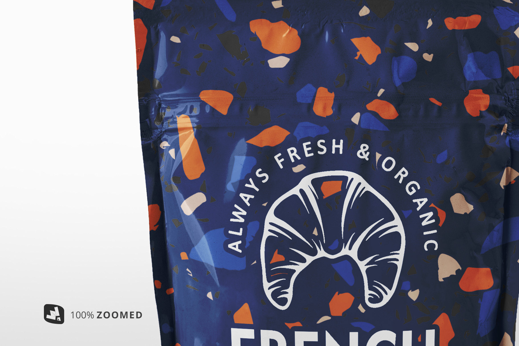 zoomed in image of the flexible food pouch packaging mockup