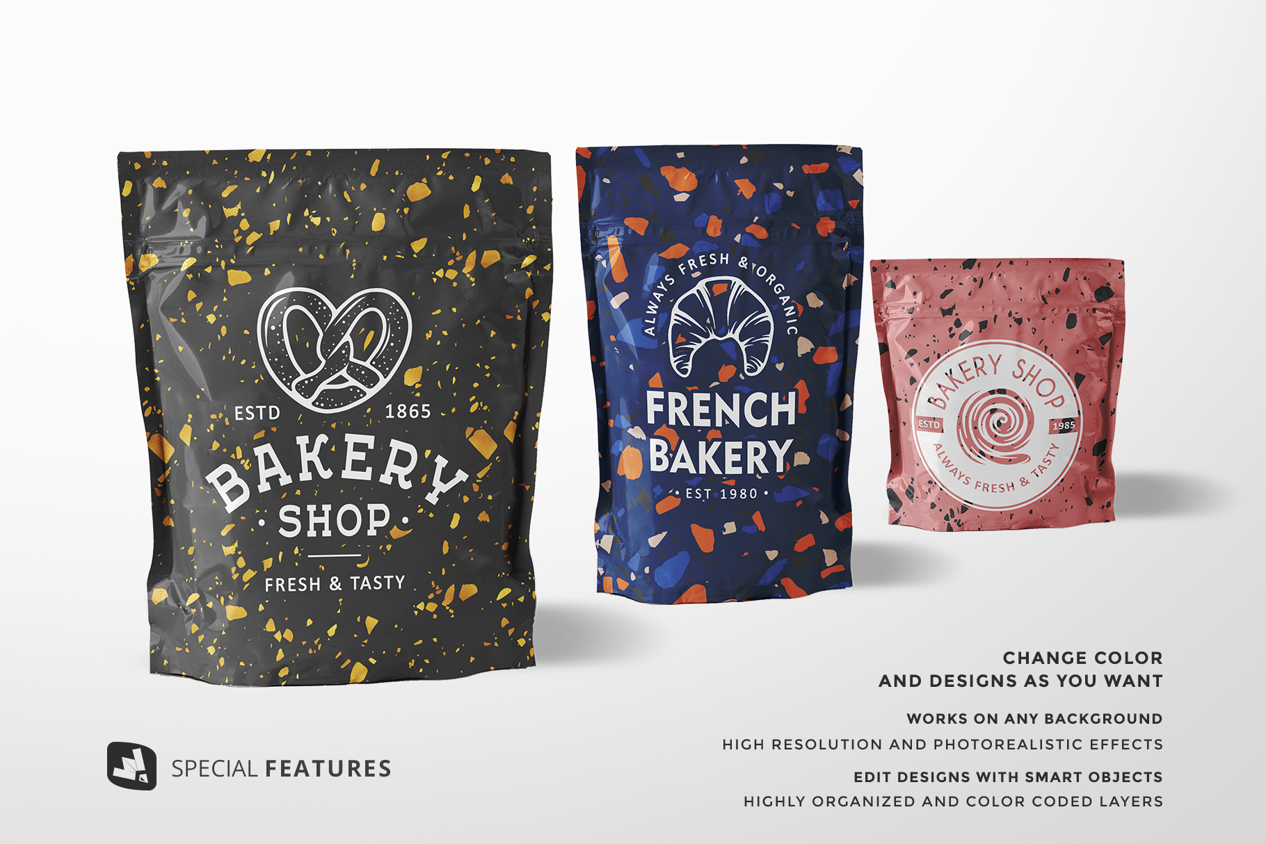 special features of the flexible food pouch packaging mockup