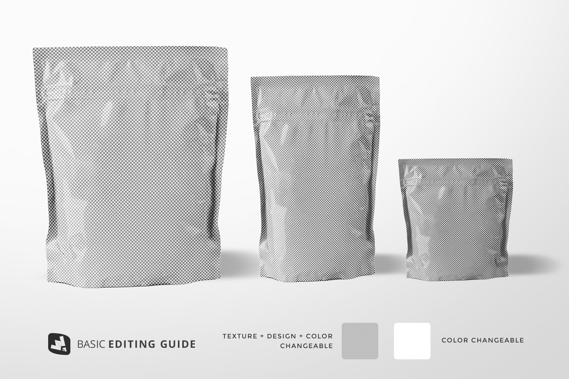 editablity of the flexible food pouch packaging mockup