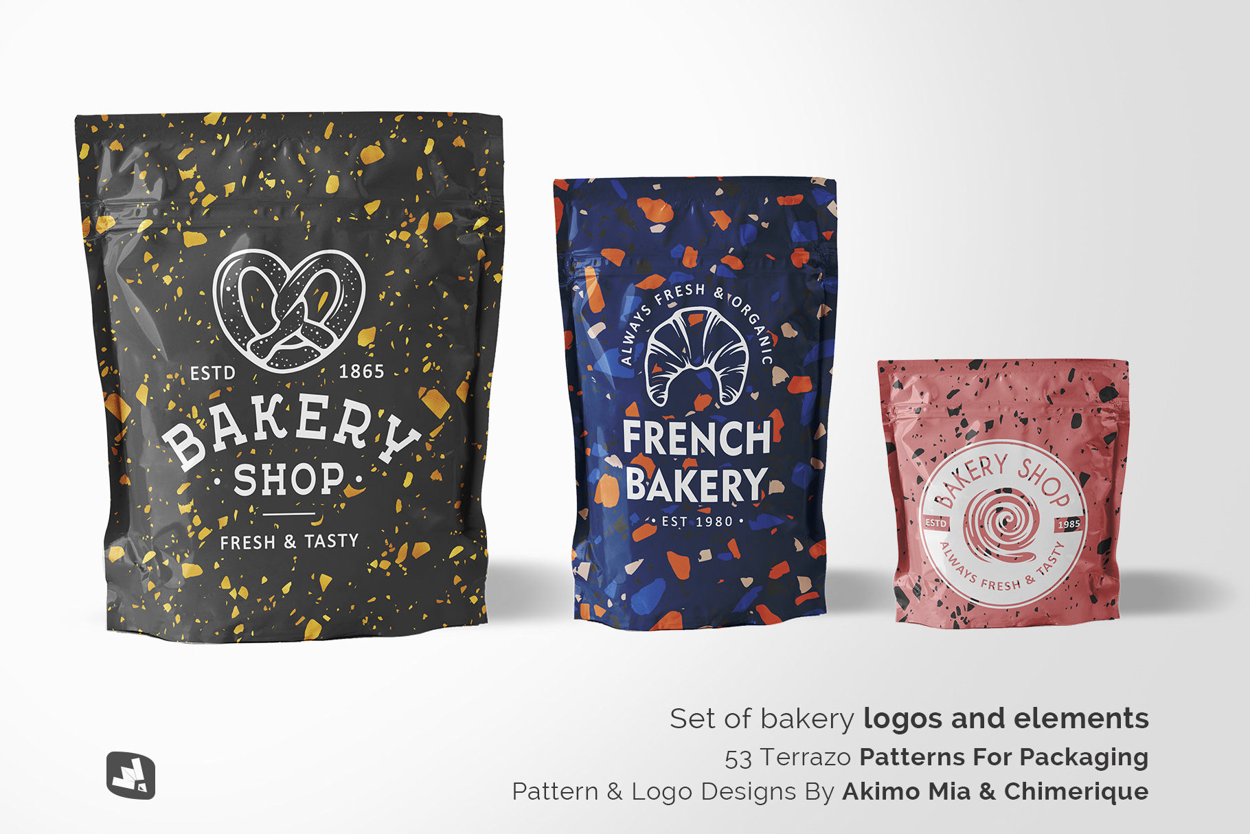 designer's credit of the flexible food pouch packaging mockup