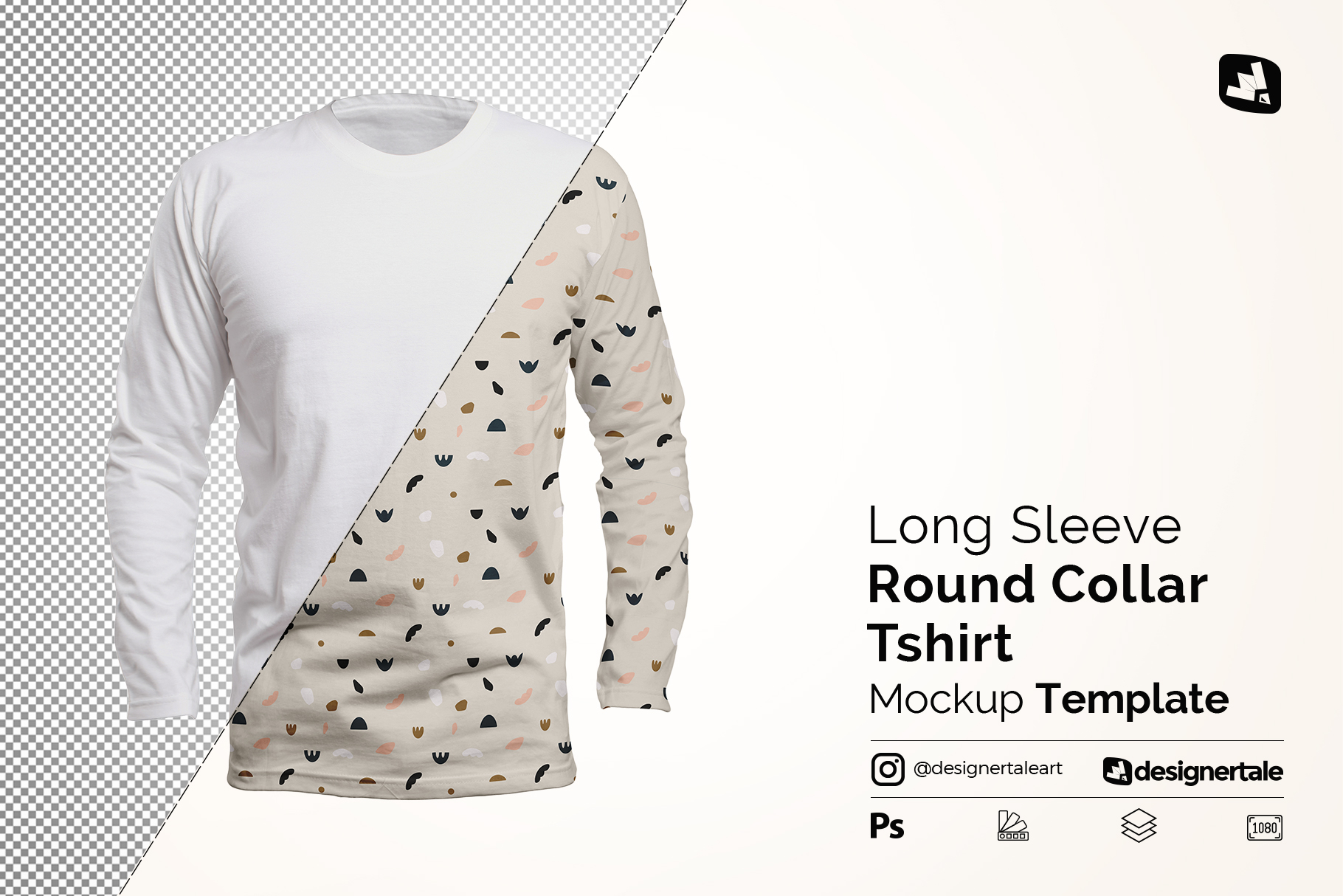 long sleeve round collar tshirt mockup