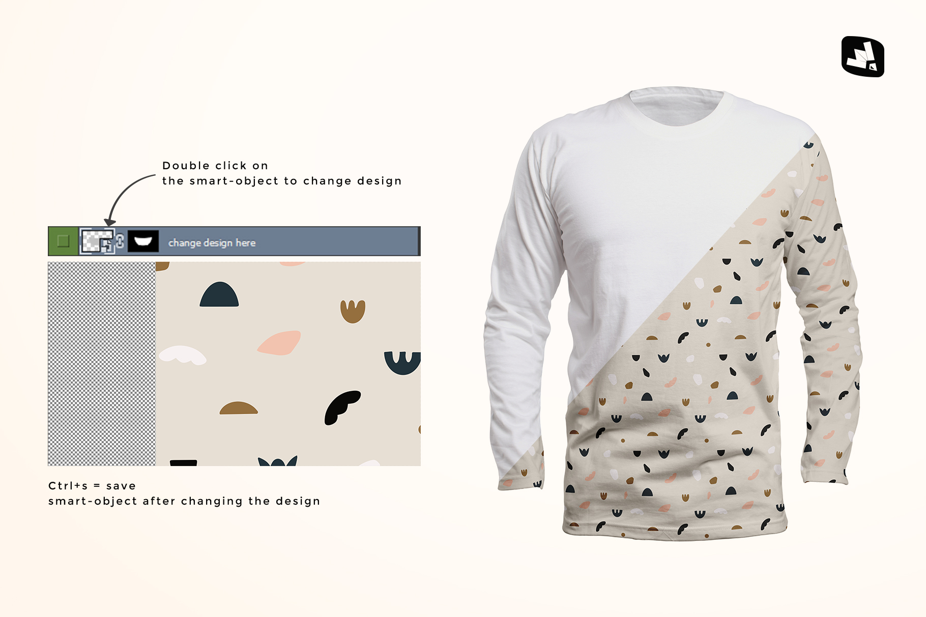 how to change design of the long sleeve round collar tshirt mockup