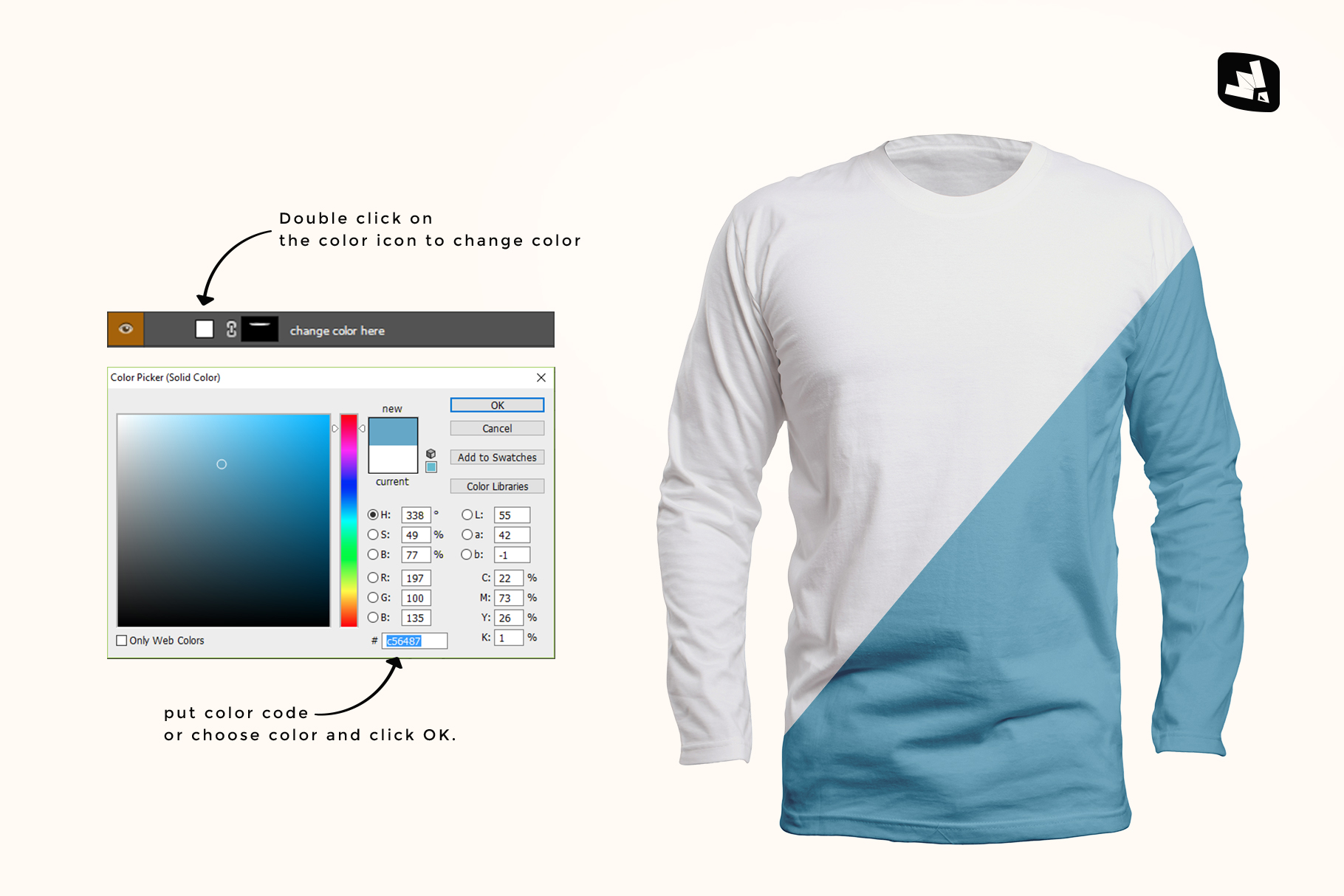 how to change color of the long sleeve round collar tshirt mockup