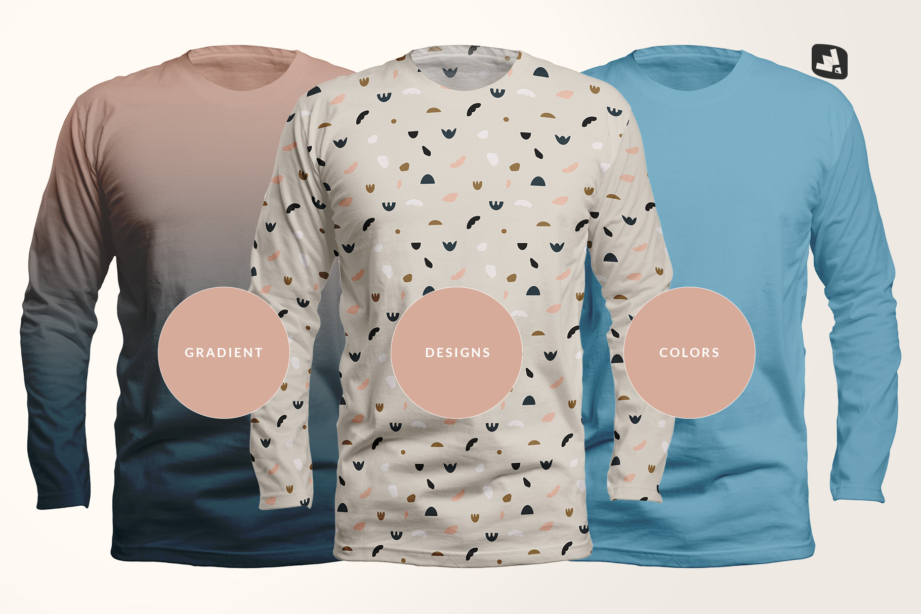 types of the long sleeve round collar tshirt mockup