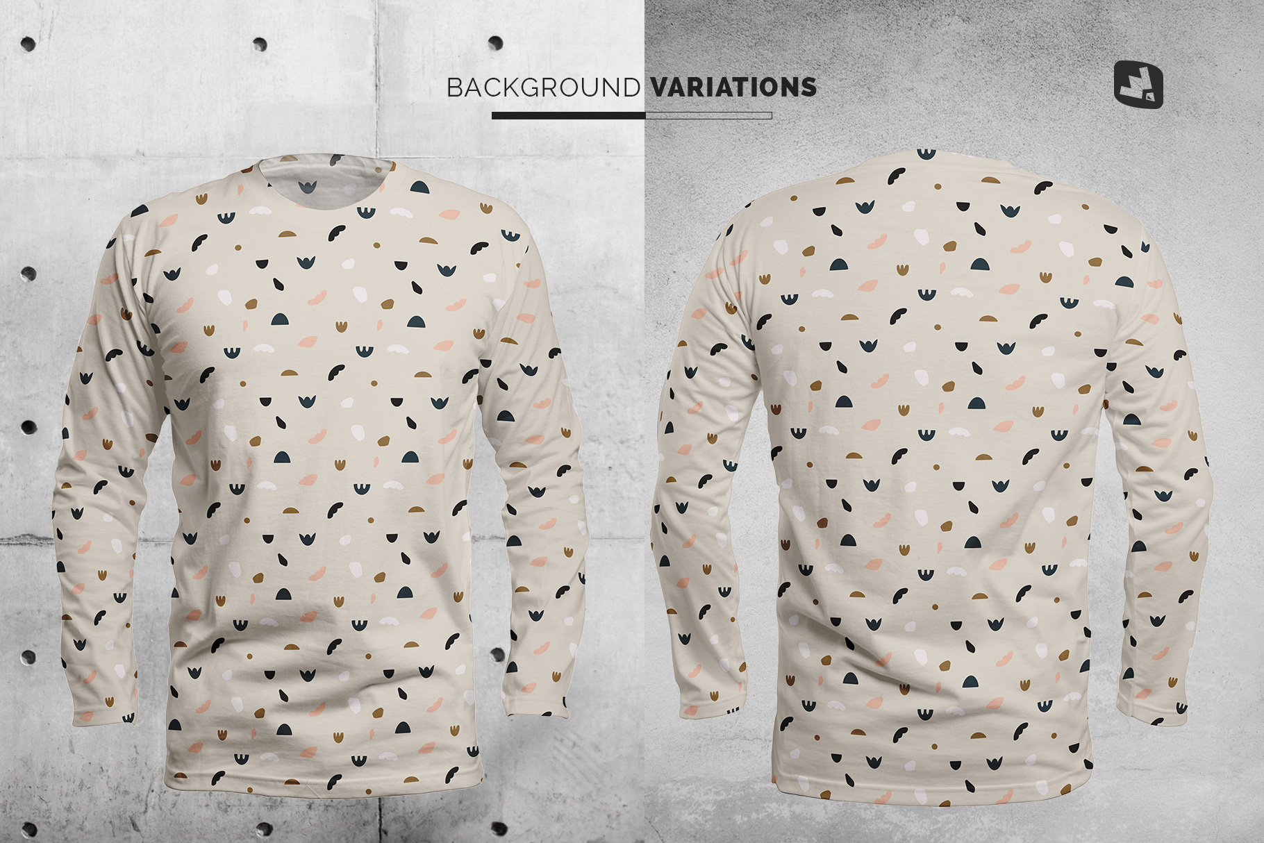 background options of the long sleeve round collar tshirt mockup