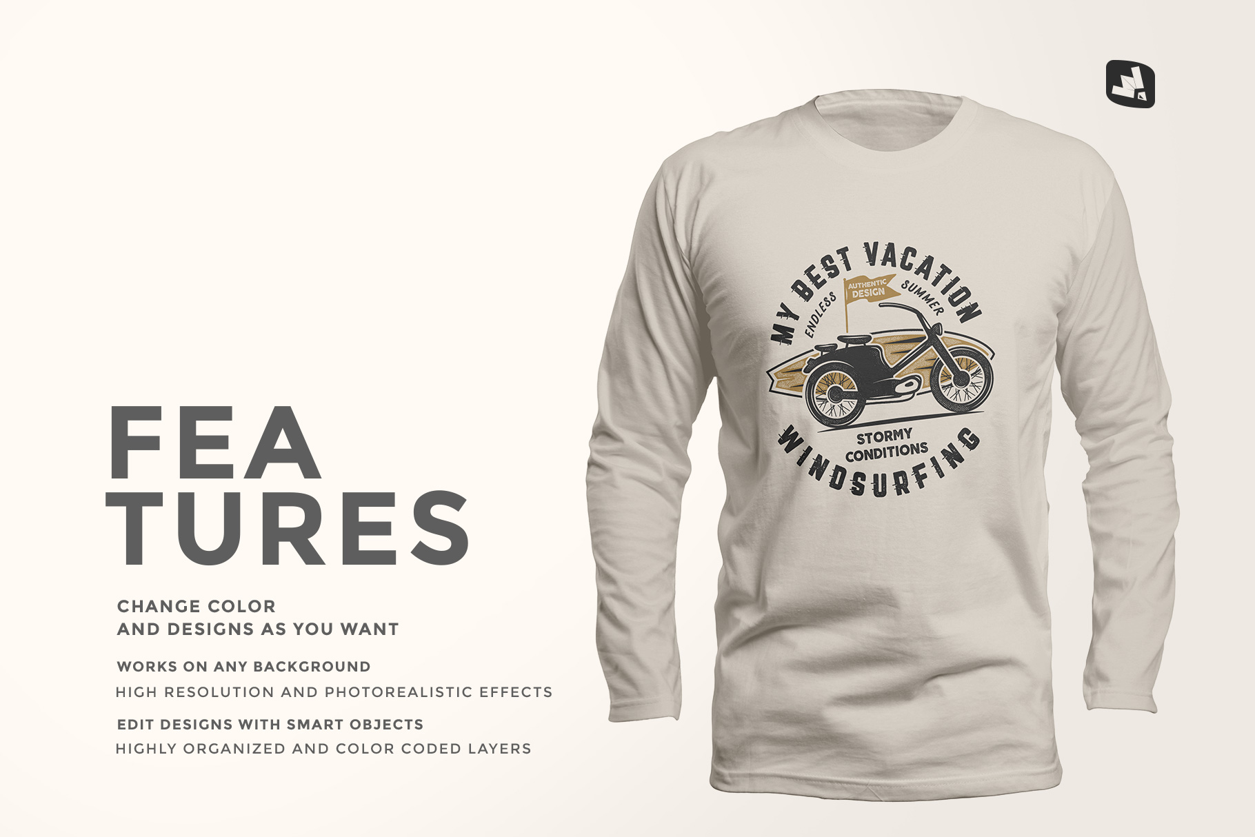 features of the long sleeve round collar tshirt mockup