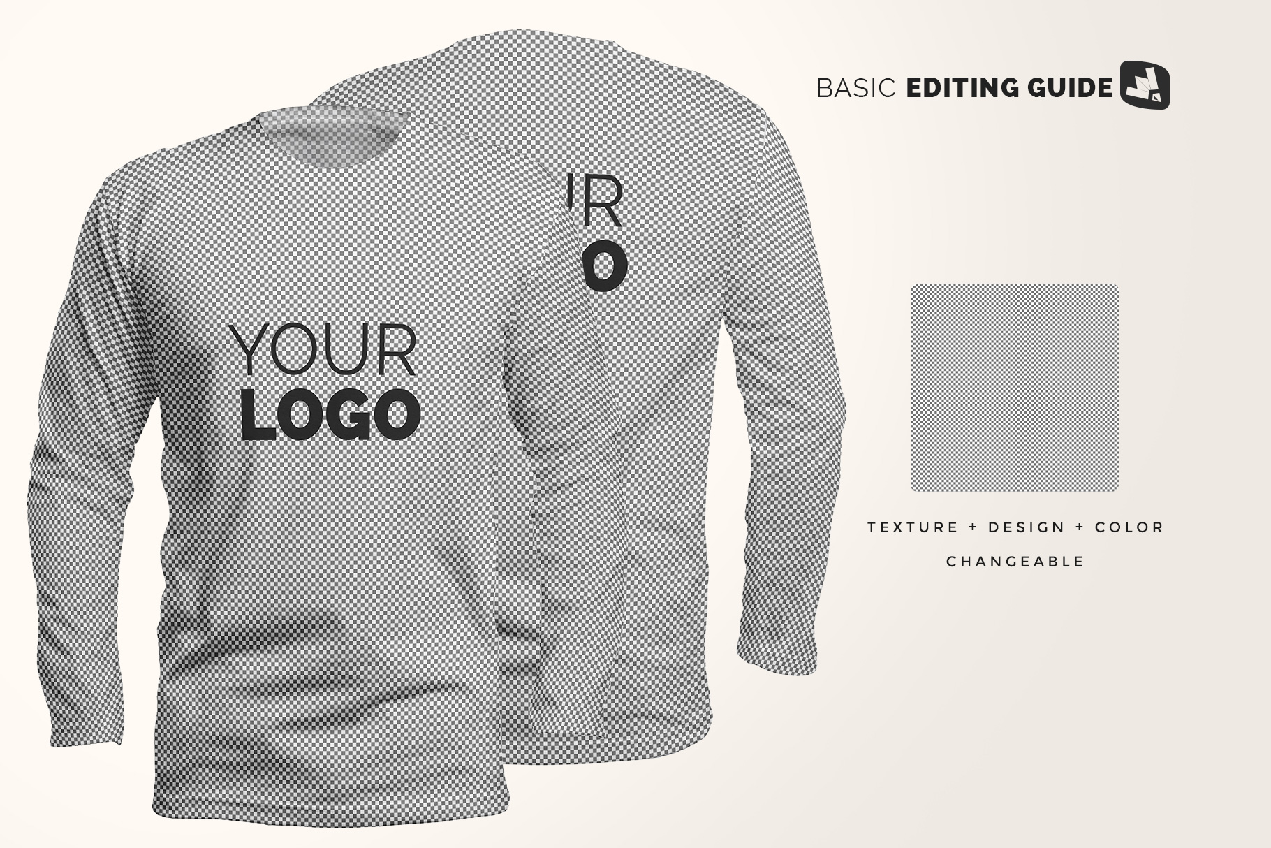 editability of the long sleeve round collar tshirt mockup