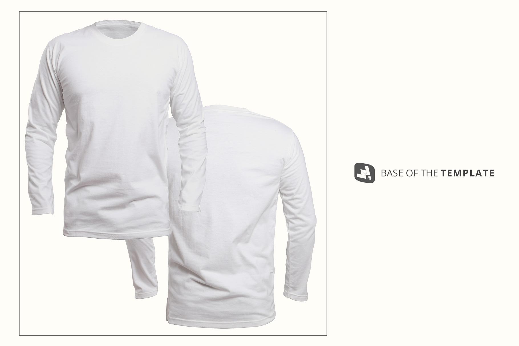 base of the long sleeve round collar tshirt mockup