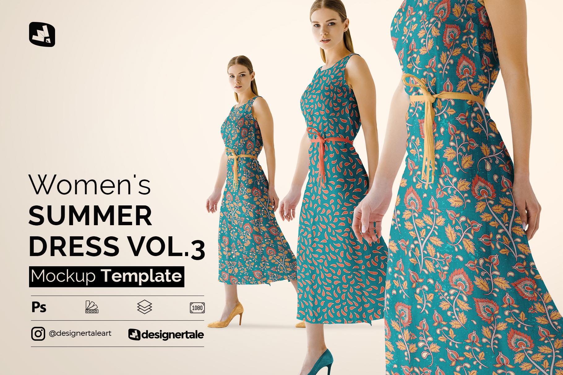 women's summer dress mockup vol.3