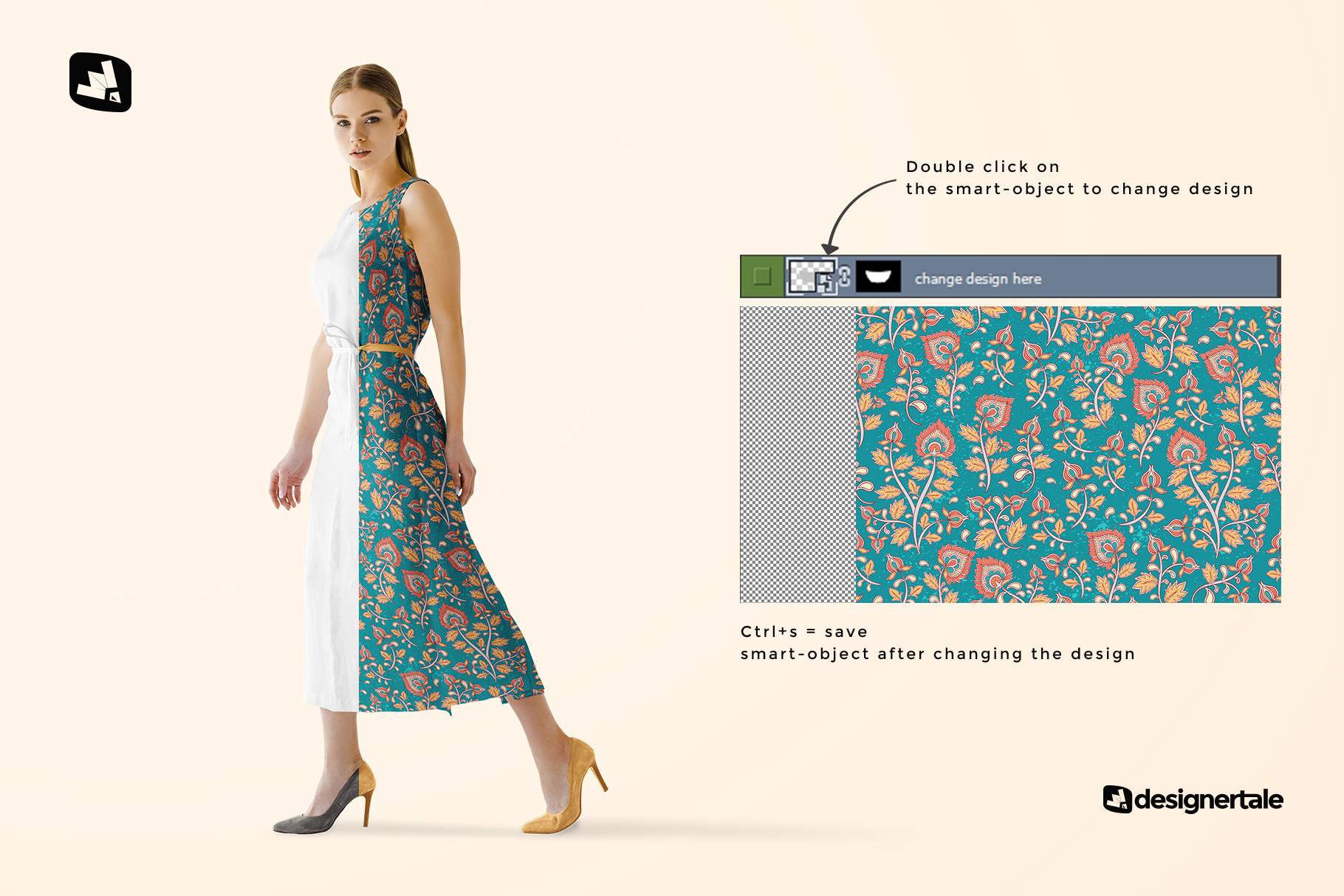 how to change design of the women's summer dress mockup vol.3