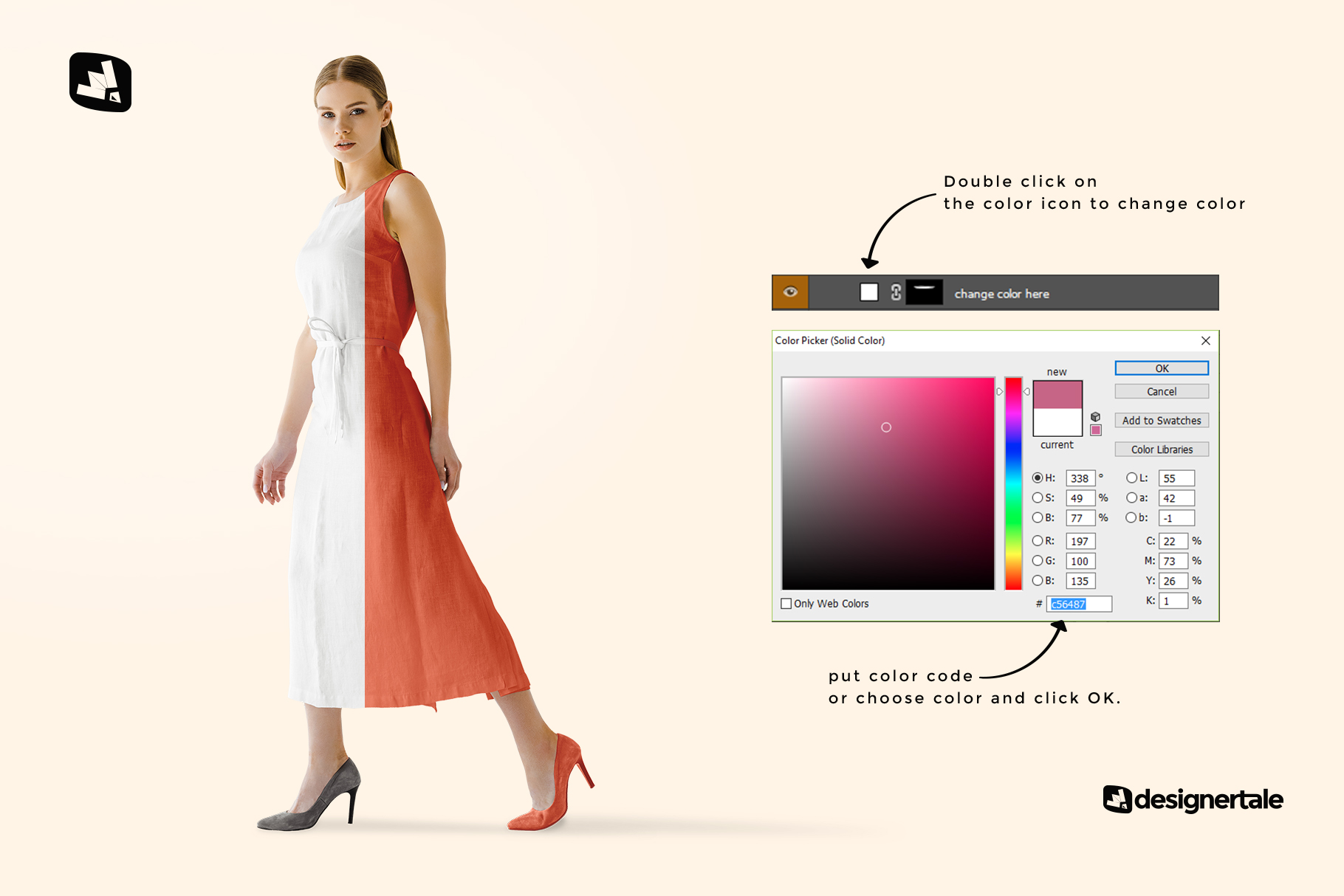 how to change color of the women's summer dress mockup vol.3