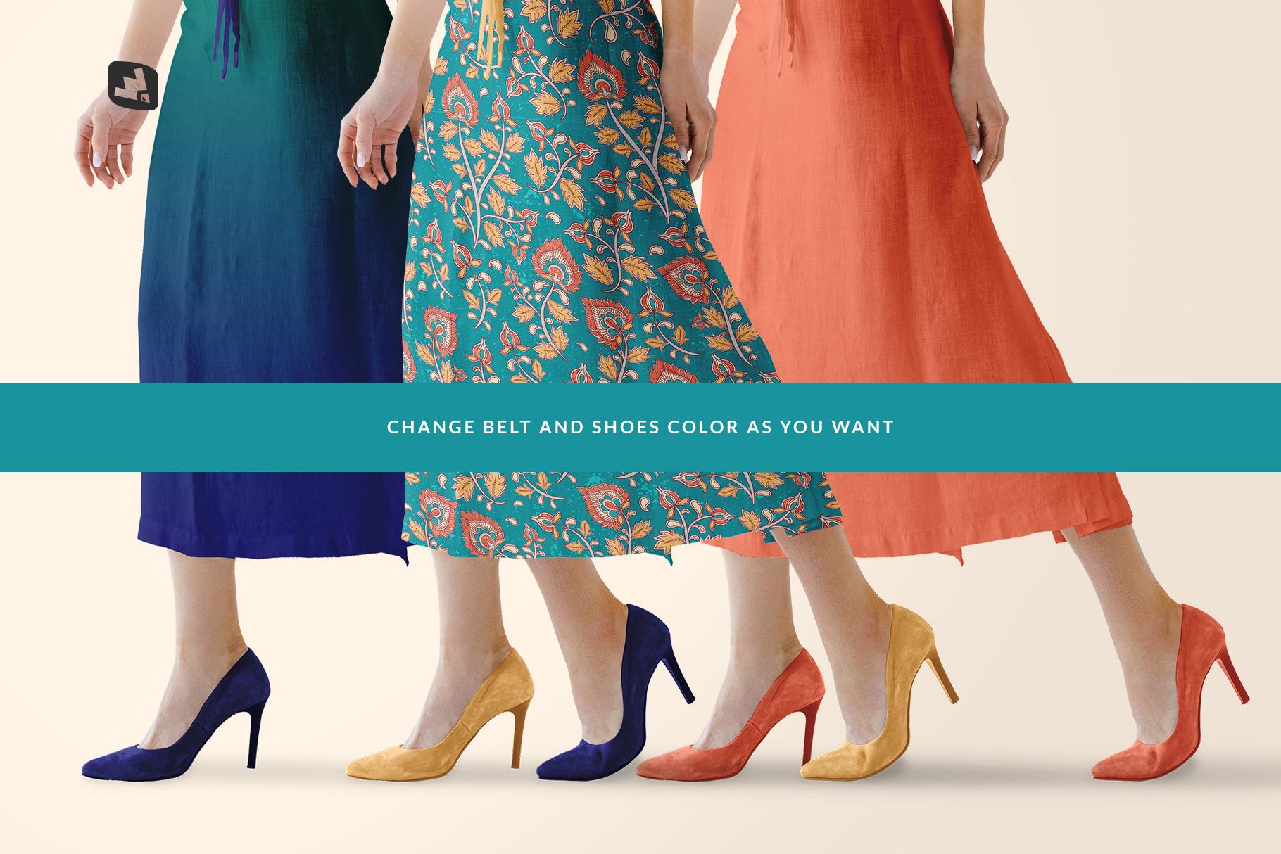 customizable shoe color of the women's summer dress mockup vol.3