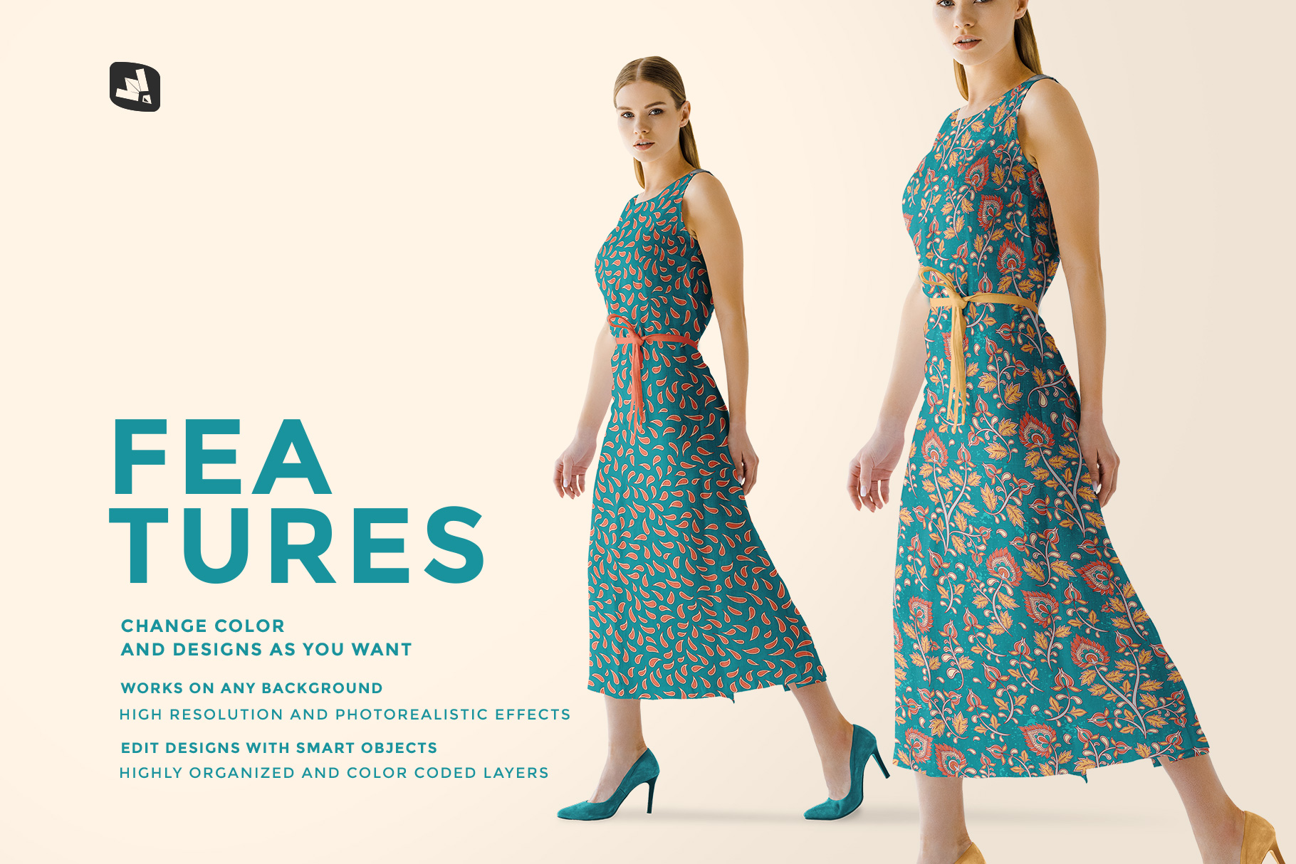 features of the women's summer dress mockup vol.3