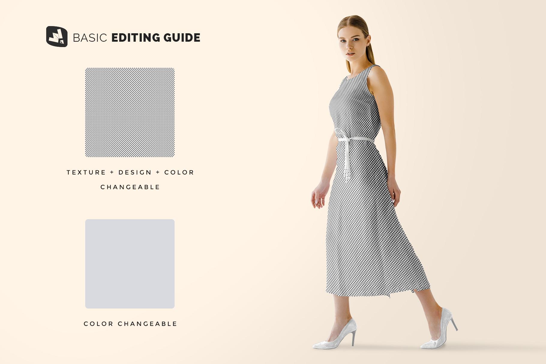 editability of the women's summer dress mockup vol.3