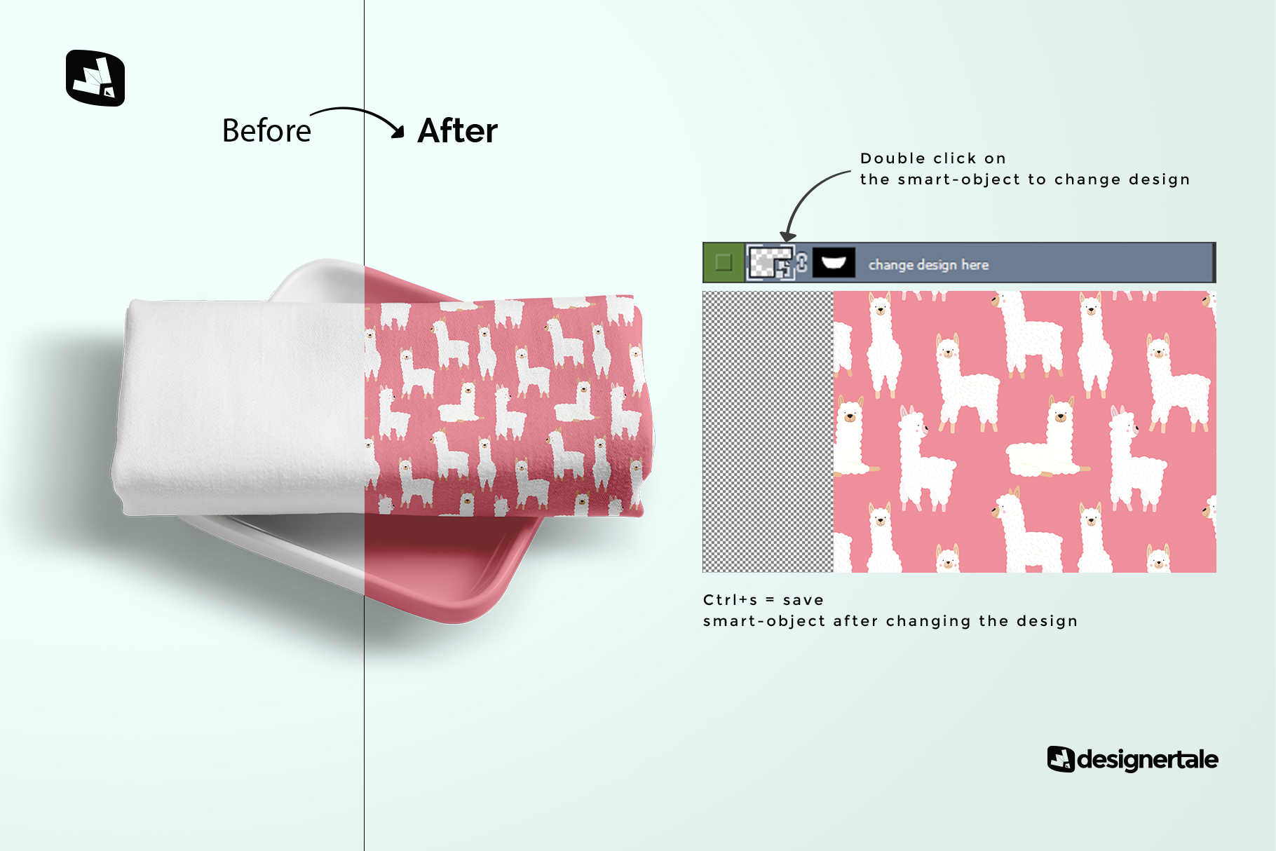 how to change design of the top view dinner cloth with dish mockup