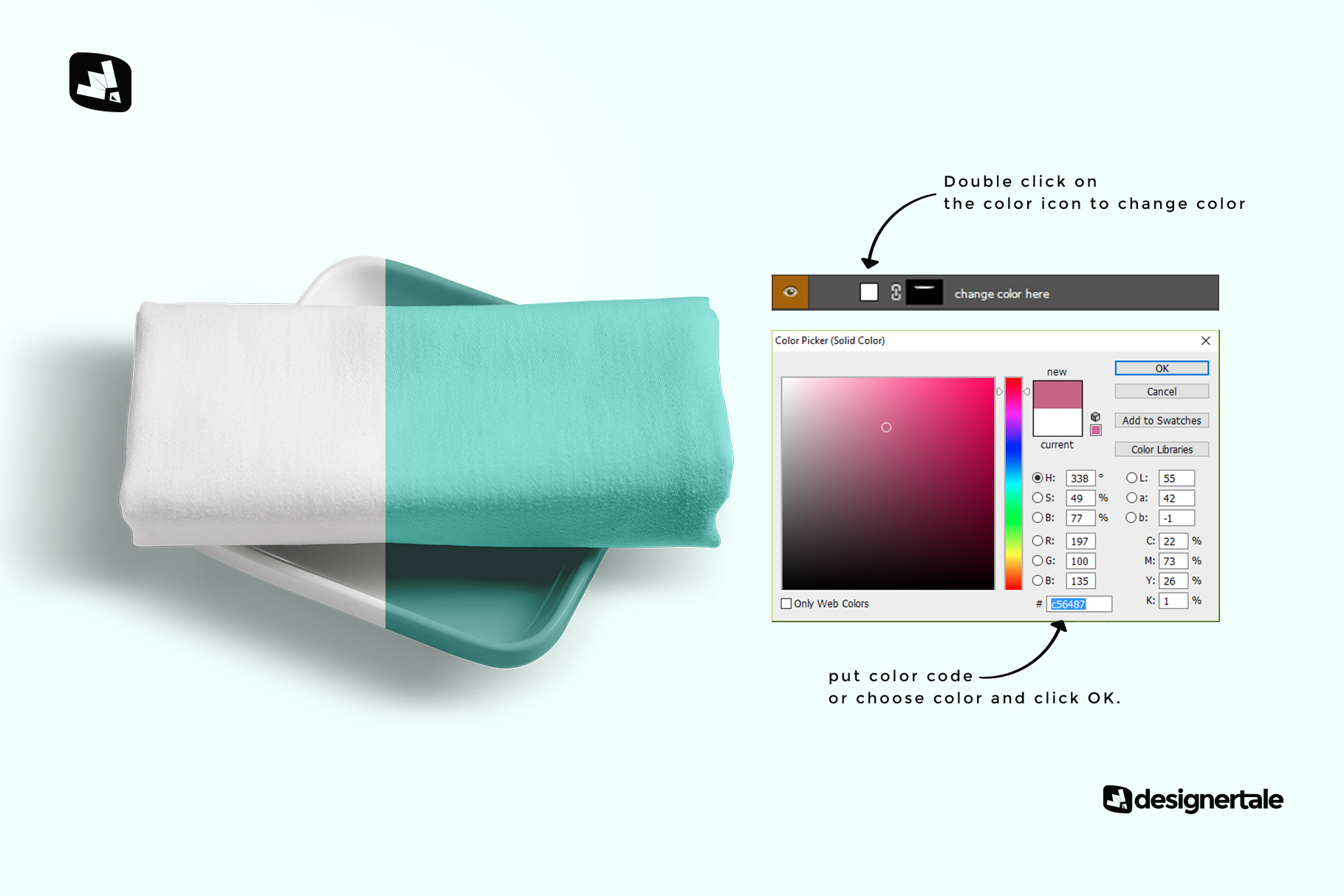 how to change color of the top view dinner cloth with dish mockup