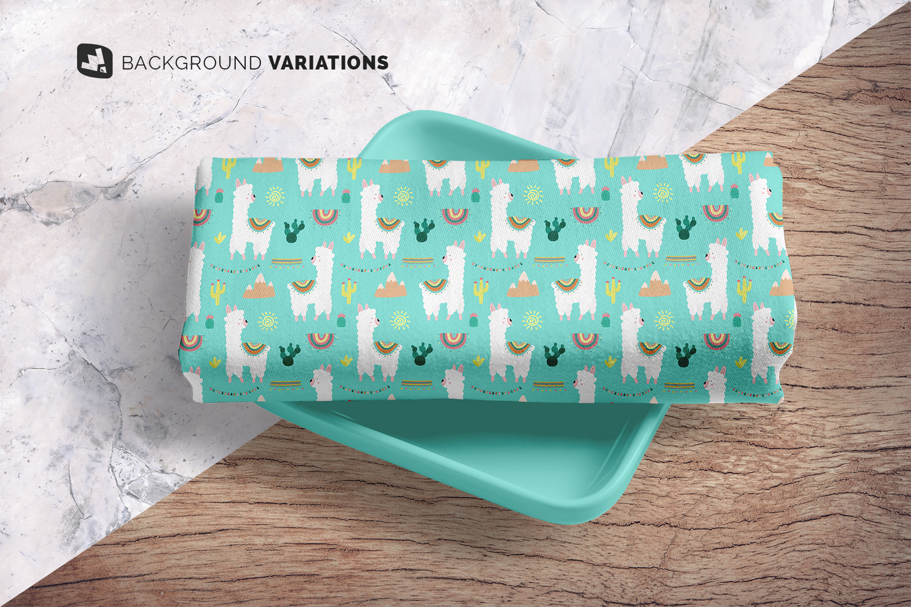 background options of the top view dinner cloth with dish mockup
