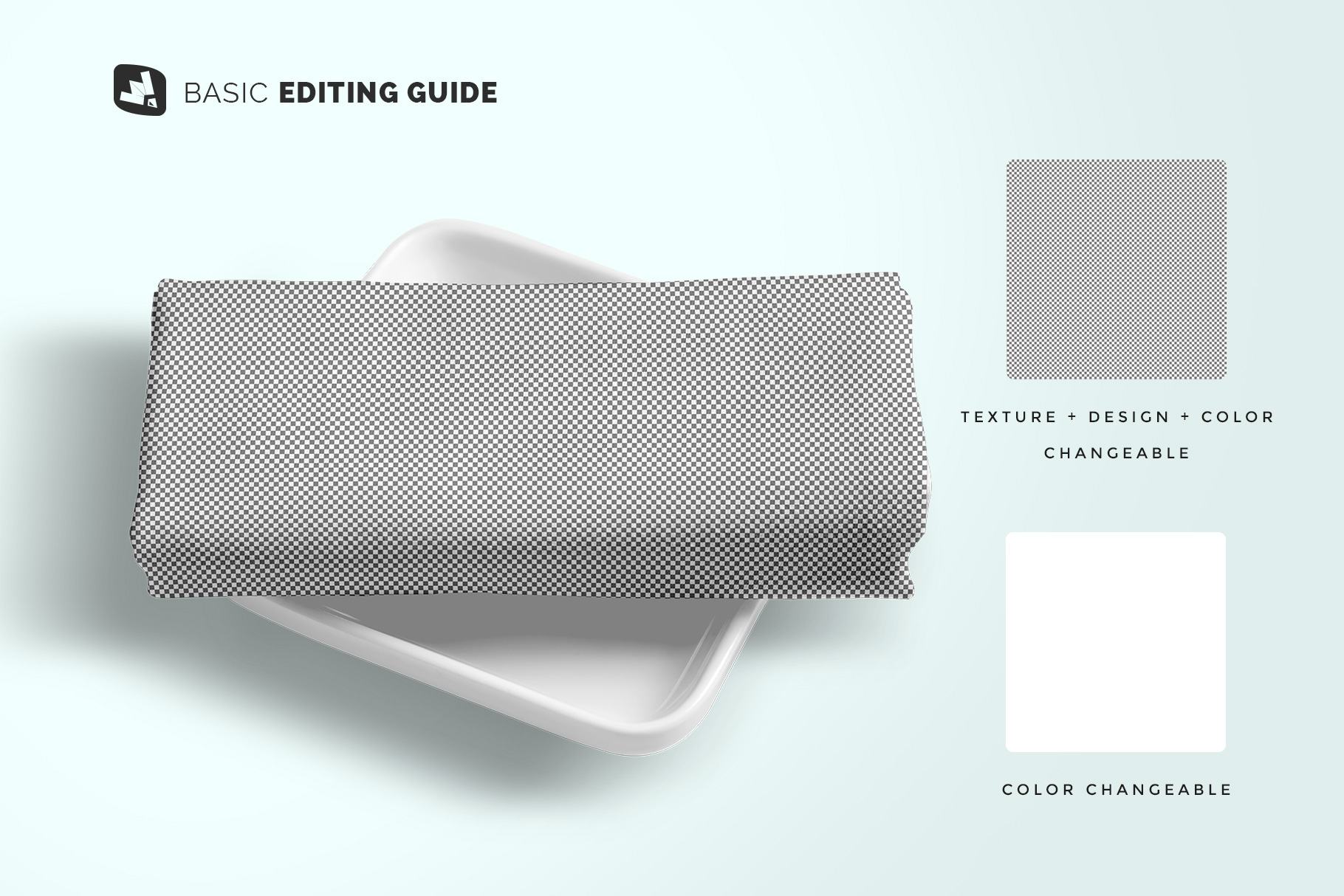 editability of the top view dinner cloth with dish mockup