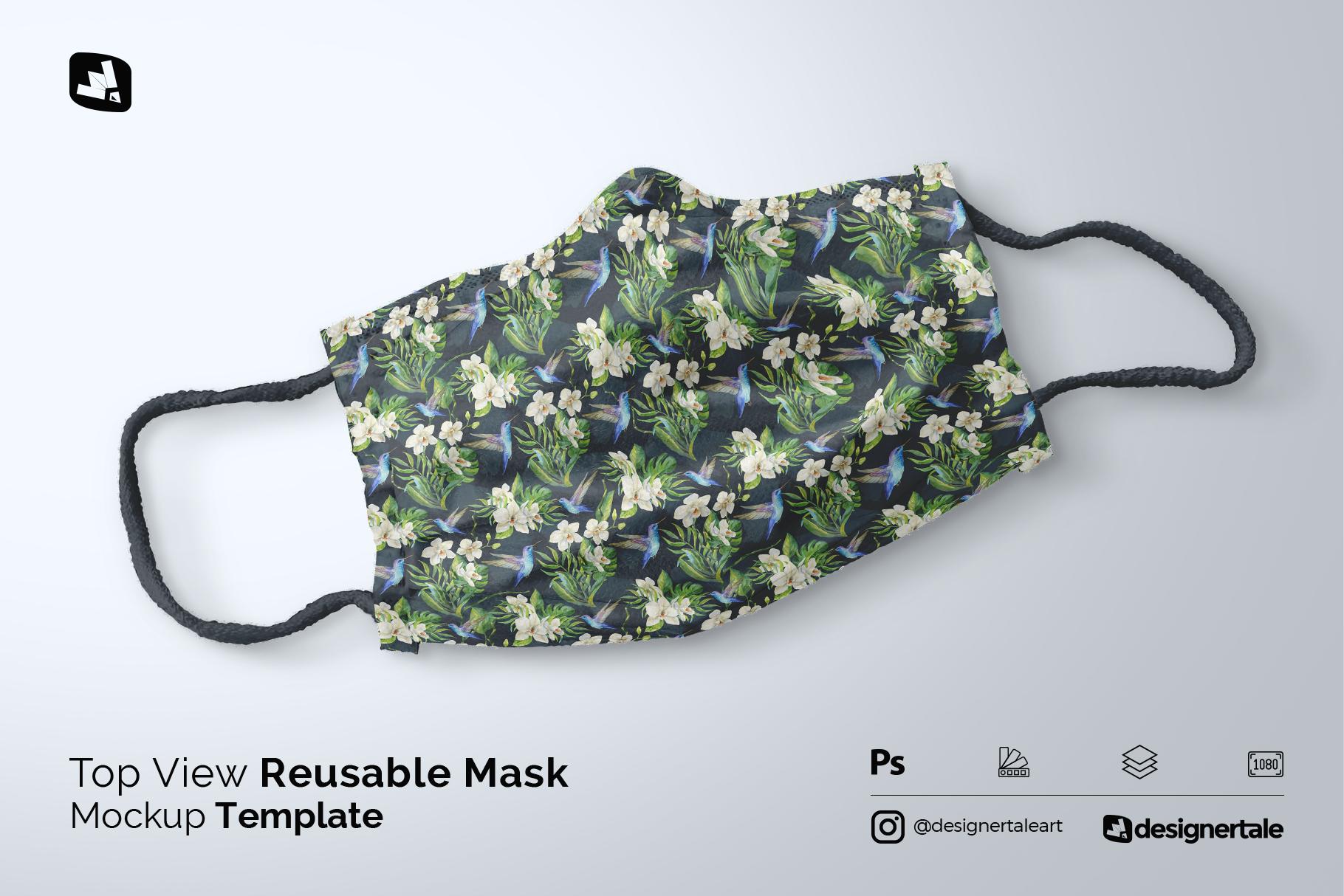 top view reusable mask mockup