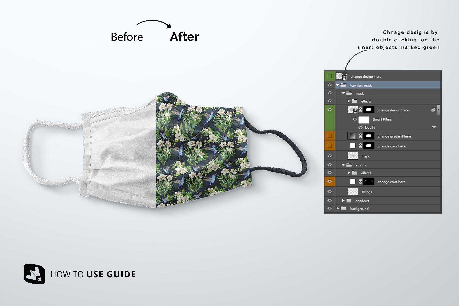 how to change design of the top view reusable mask mockup