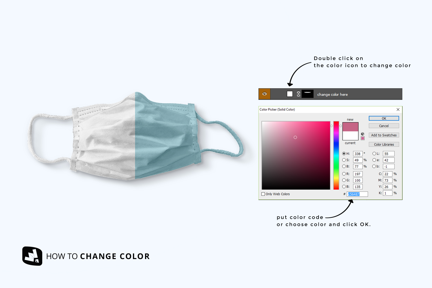 how to chang ecolor of the top view reusable mask mockup