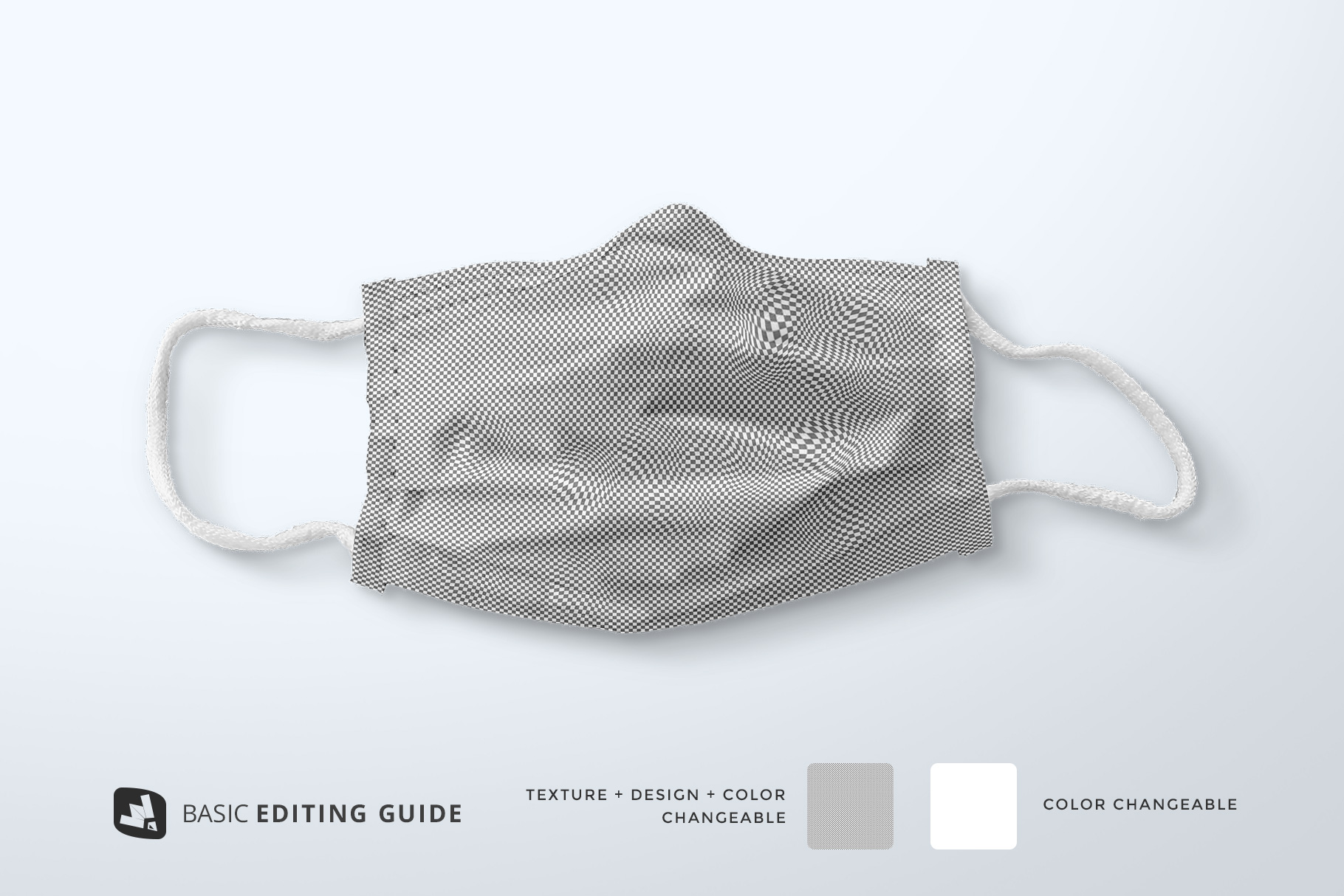 editability of the top view reusable mask mockup