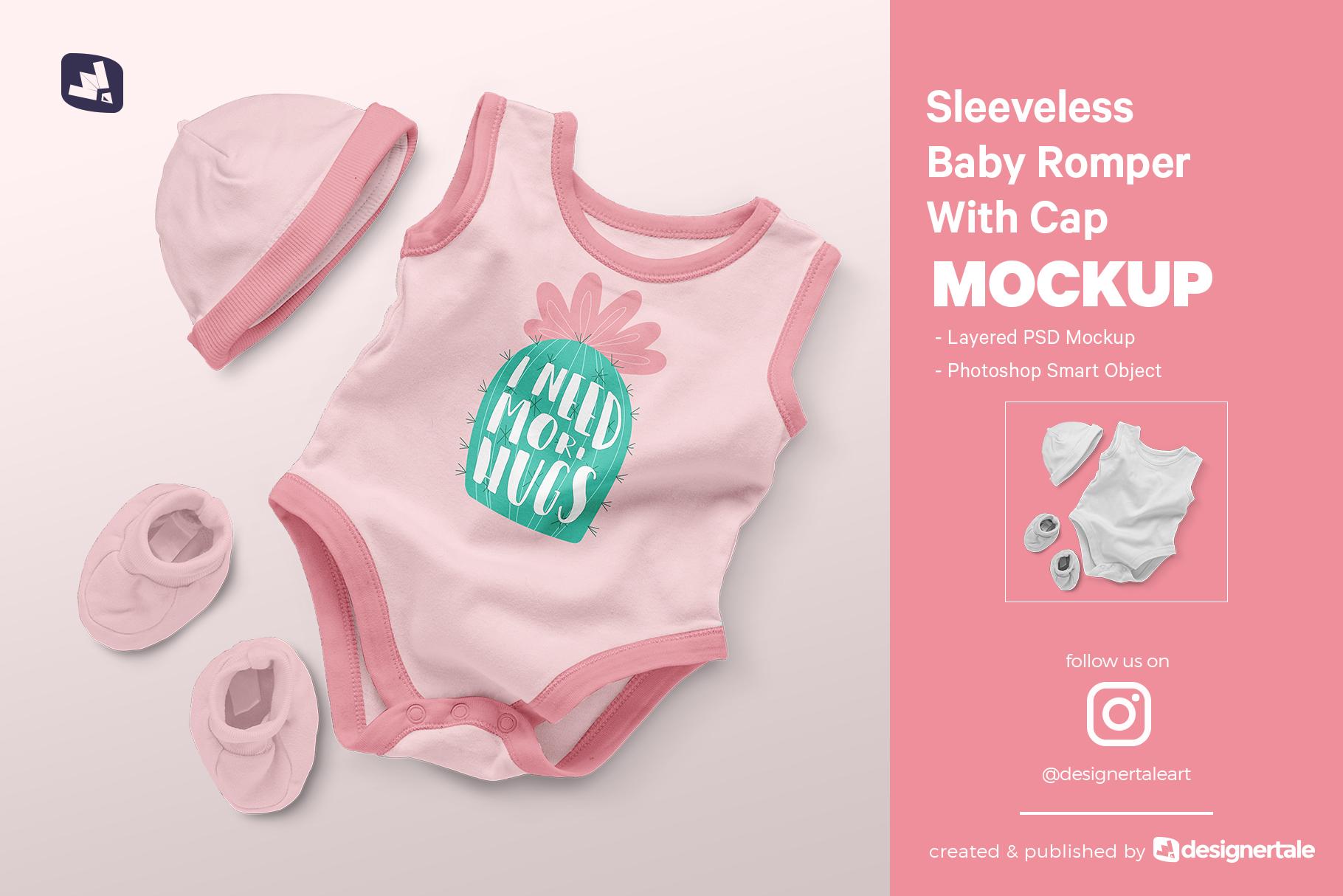 baby romper with cap mockup