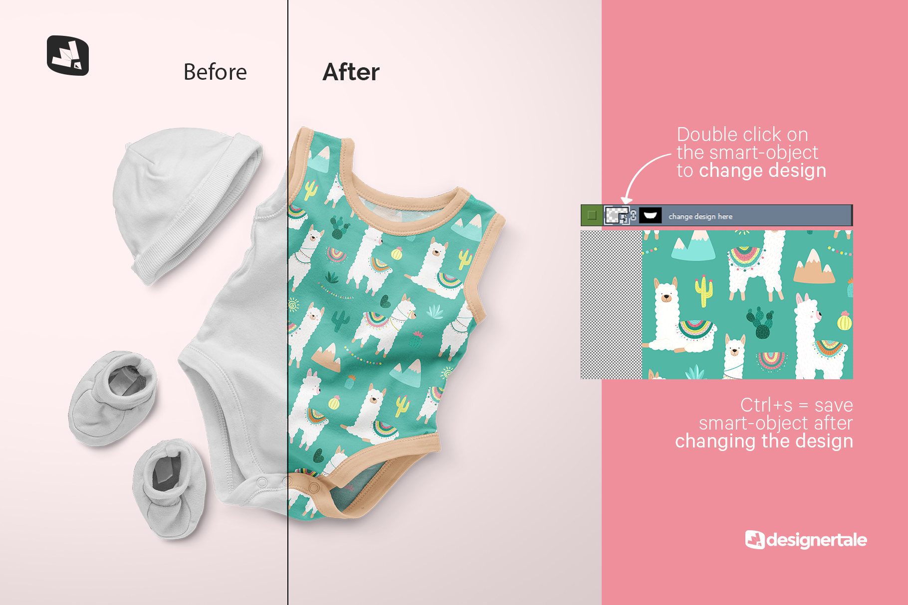 how to change design of the sleeveless baby romper with cap mockup