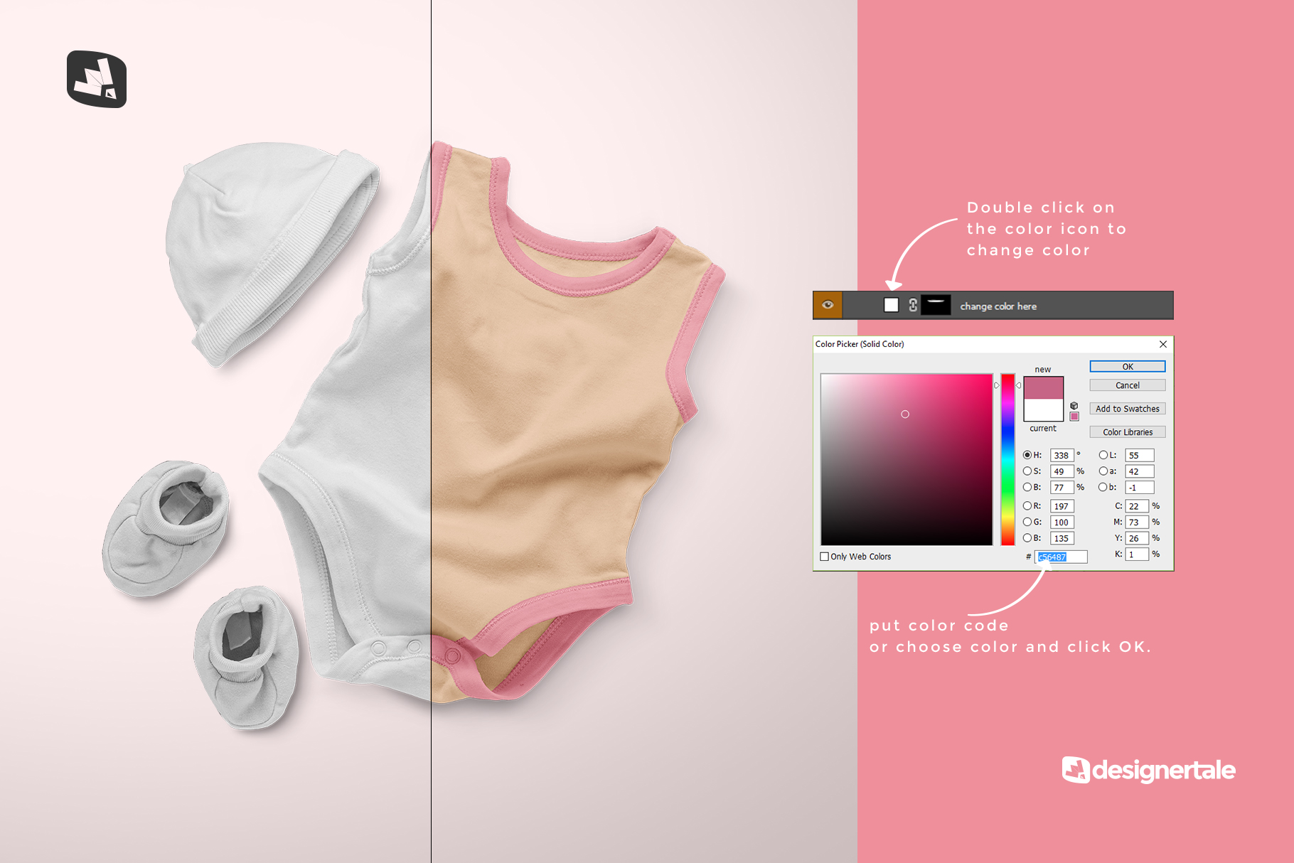 how to change color of the sleeveless baby romper with cap mockup