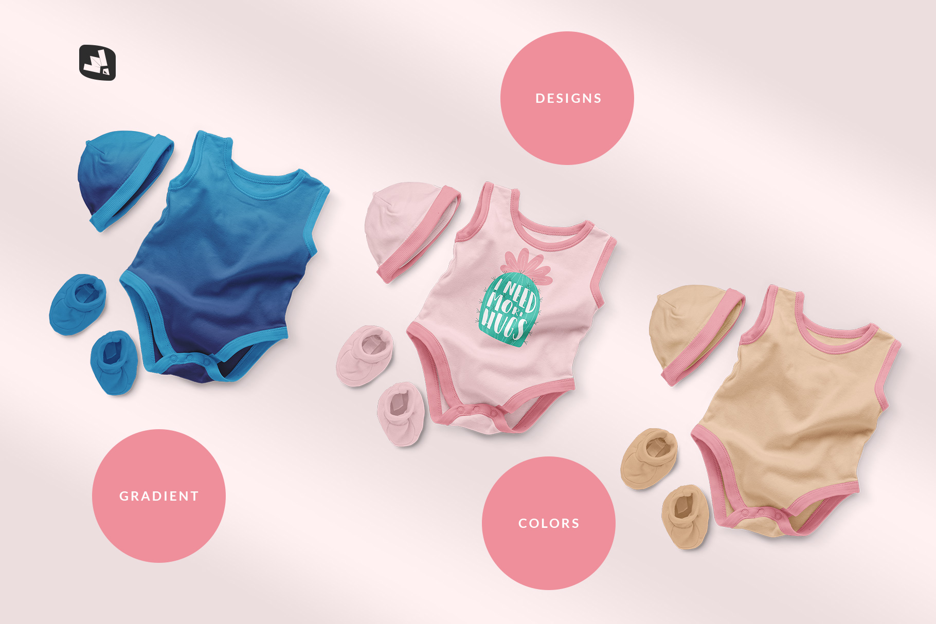 types of the sleeveless baby romper with cap mockup