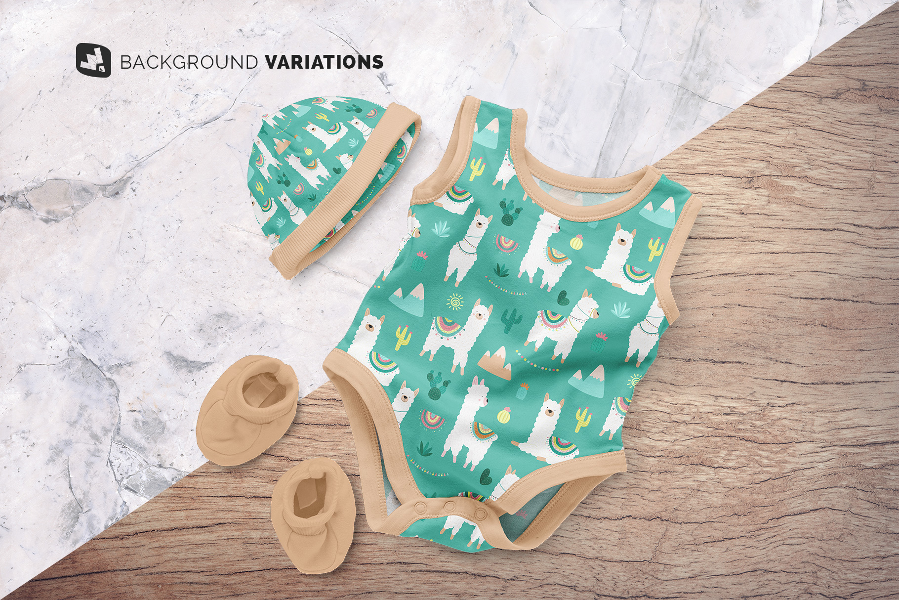 background options of the sleeveless baby romper with cap mockup