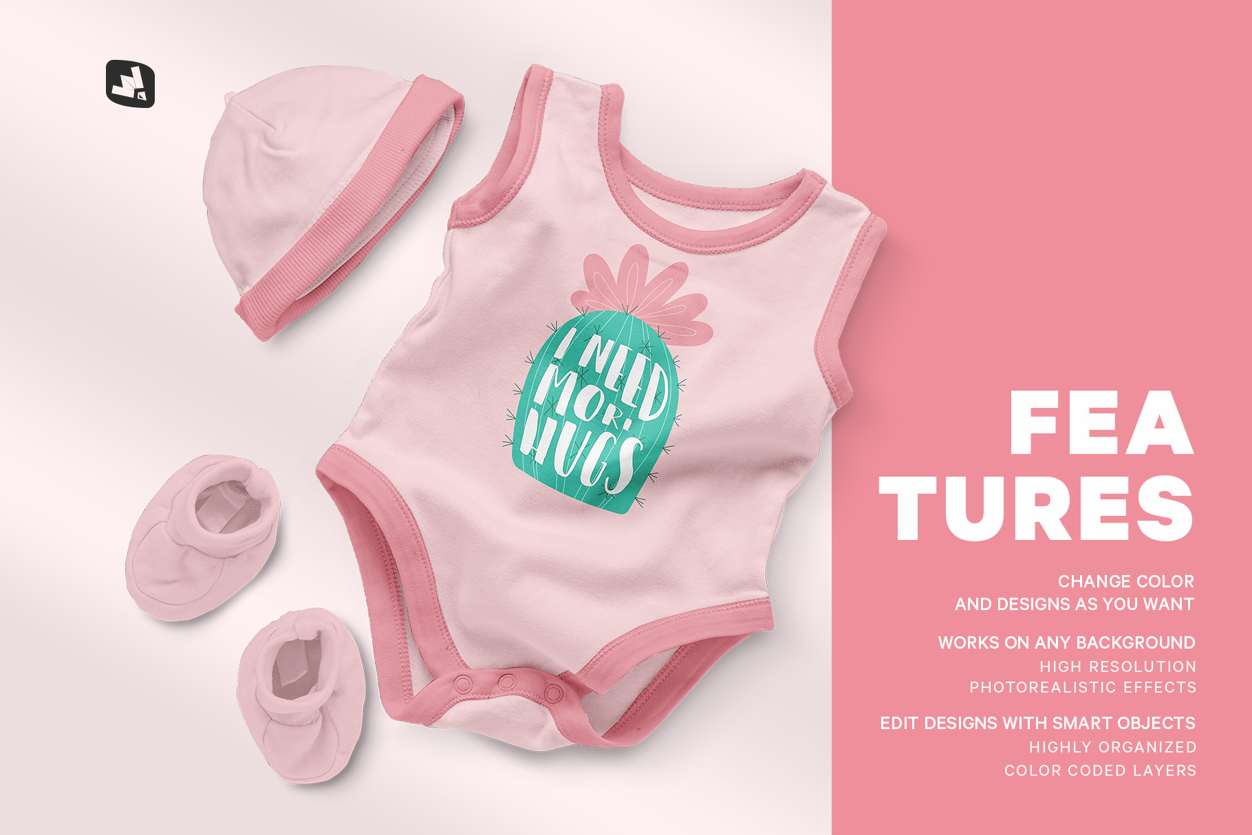 fetures of the sleeveless baby romper with cap mockup
