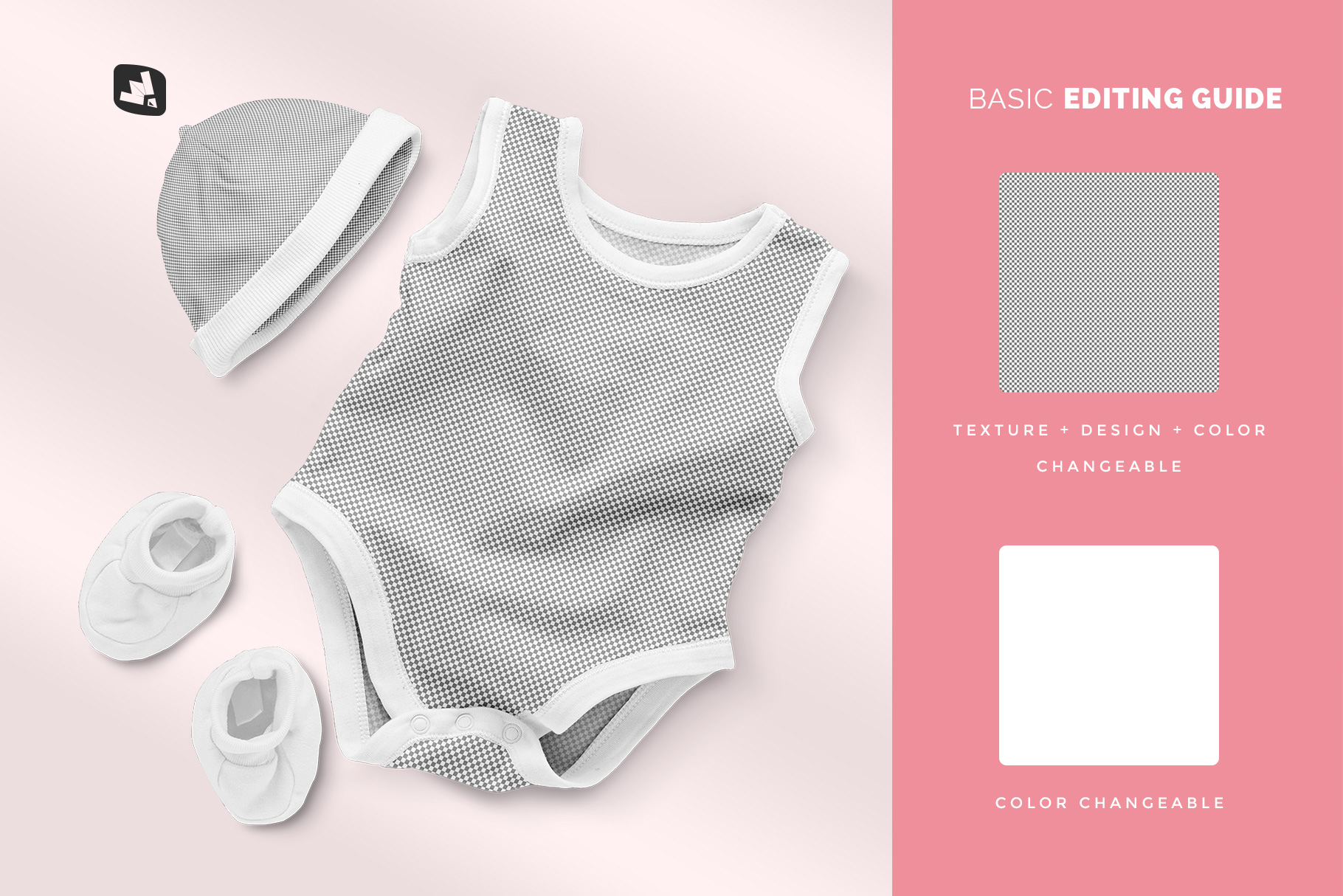 editability of the sleeveless baby romper with cap mockup