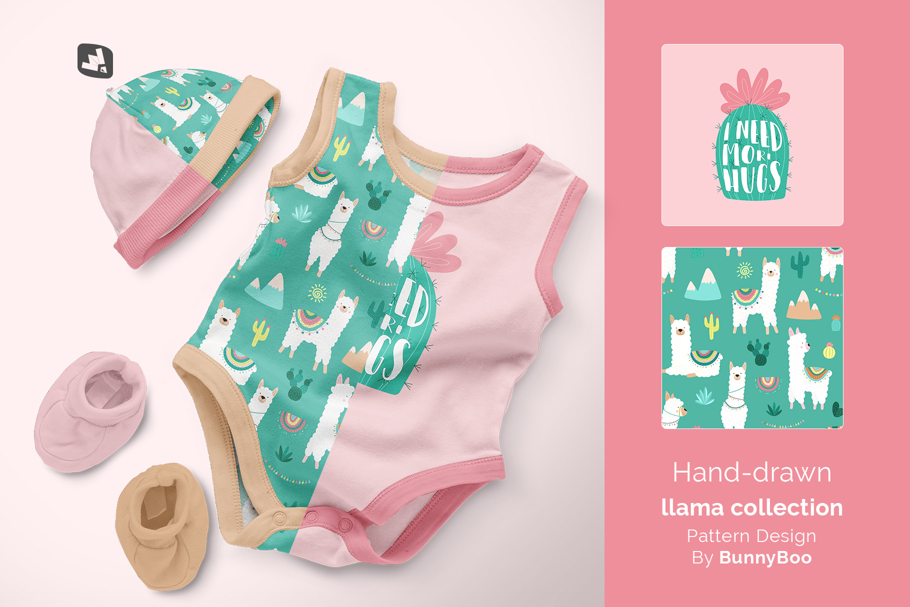 designer's credit of the sleeveless baby romper with cap mockup