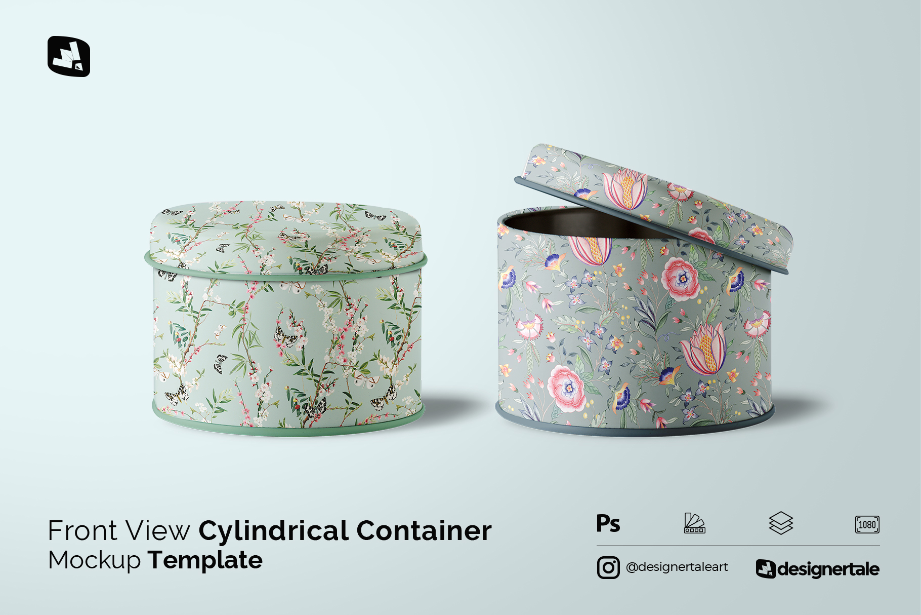 cylindrical container mockup